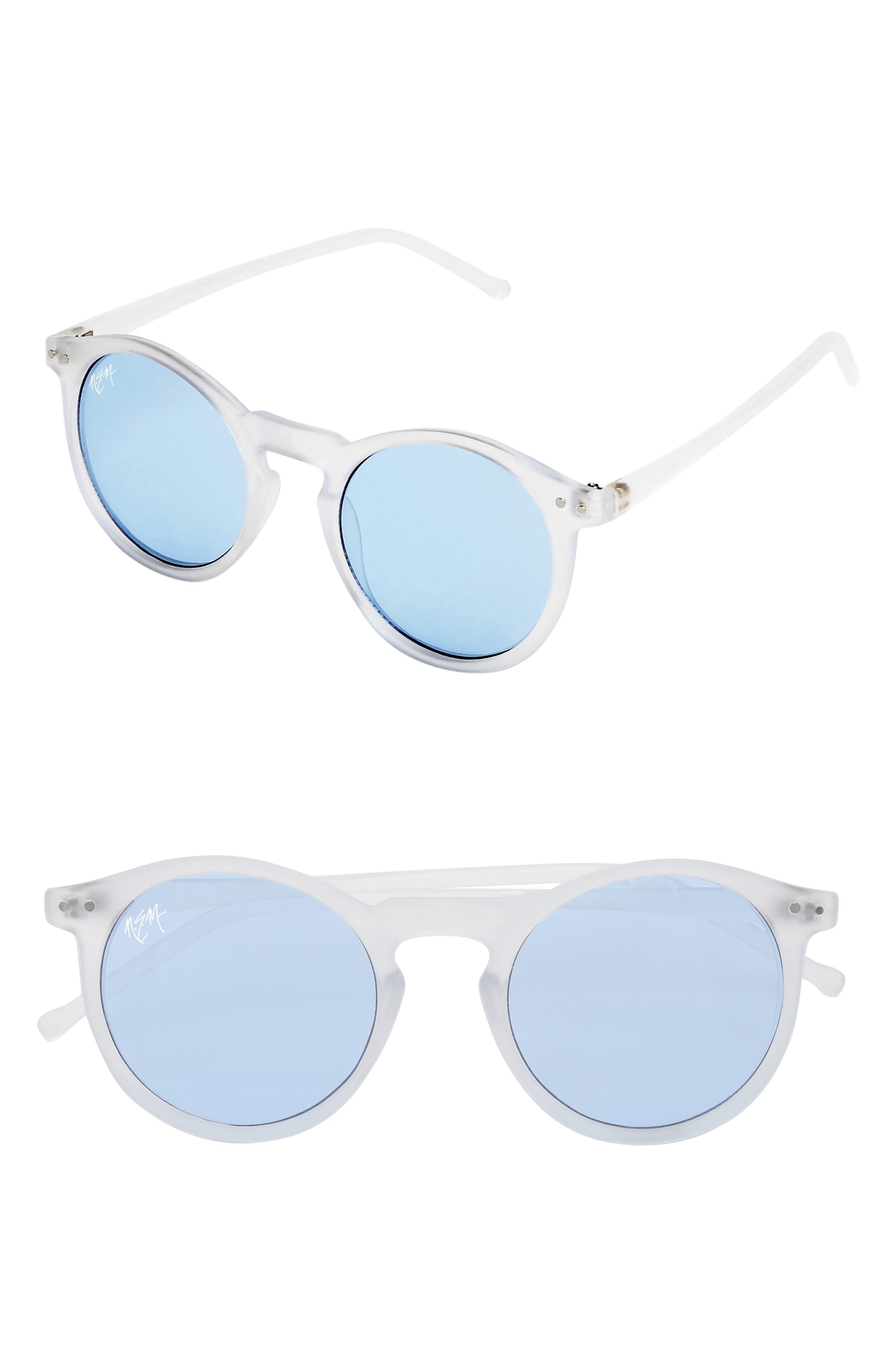 Nem 50Mm Mirrored Round Sunglasses - Clear Sky Blue/ Blue Tint