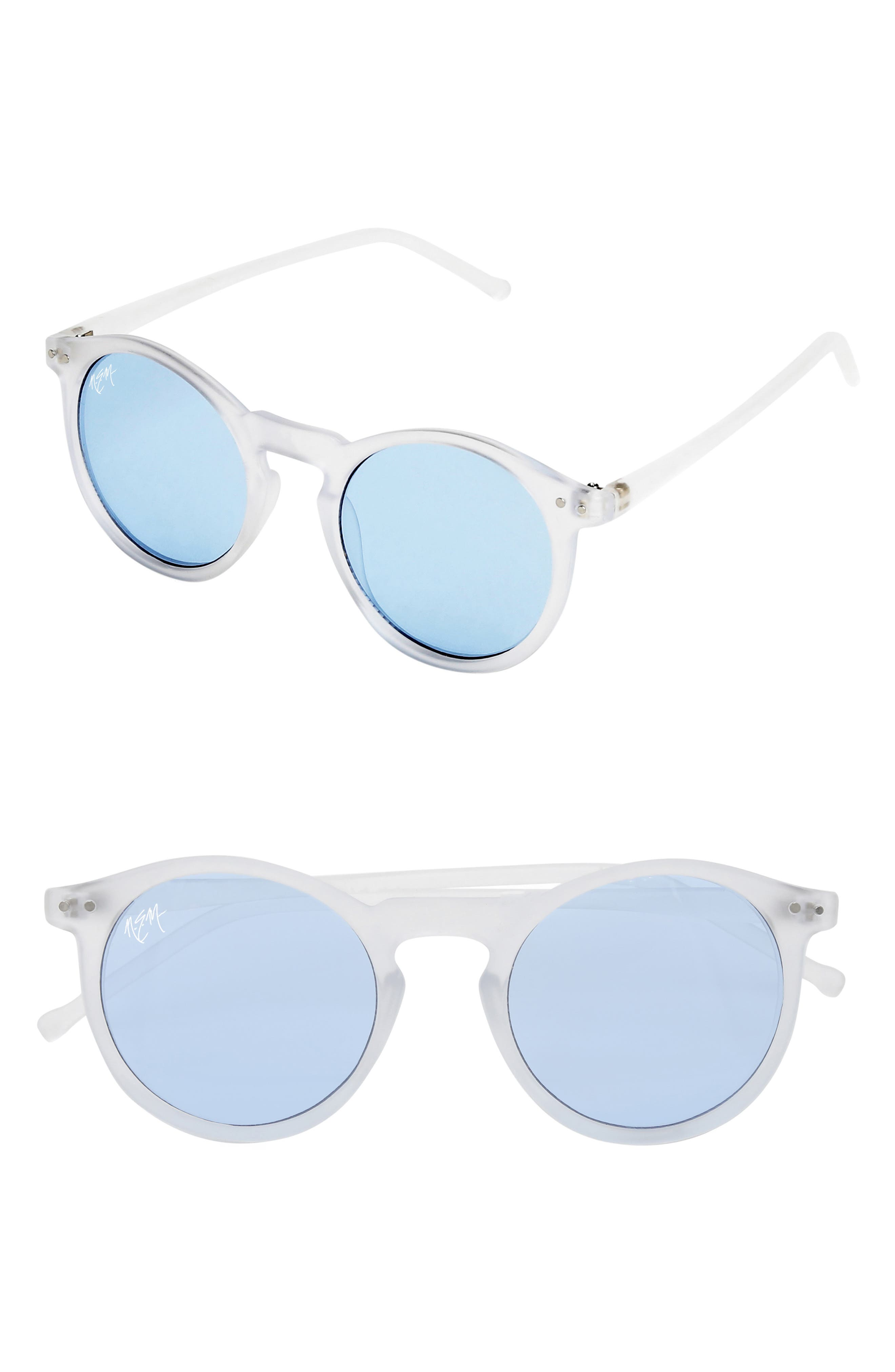 50mm Mirrored Round Sunglasses,                         Main,                         color, CLEAR SKY BLUE/ BLUE TINT