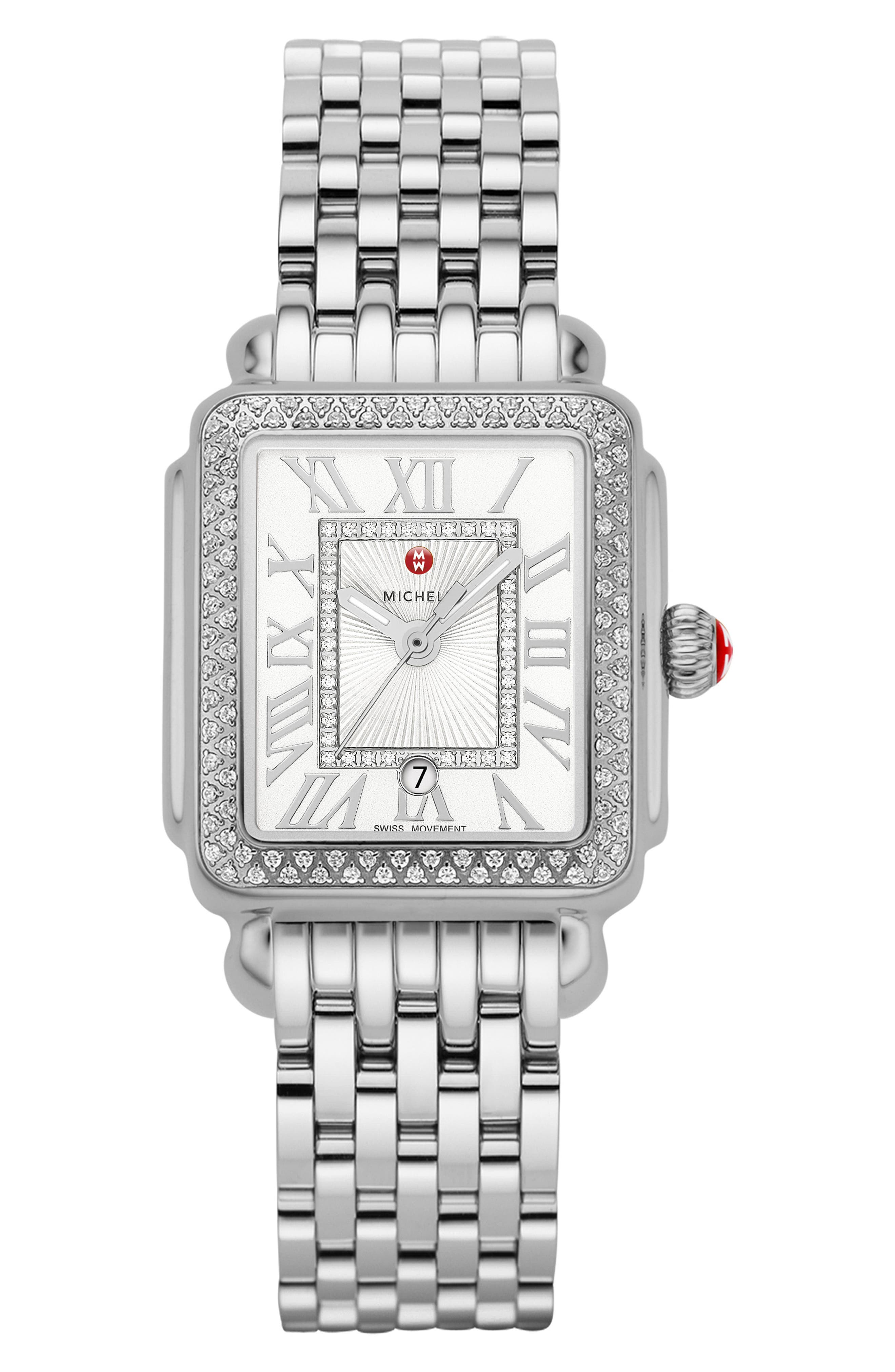 Deco Madison Mid Diamond Dial Watch Head, 29mm x 31mm,                             Alternate thumbnail 4, color,                             SILVER/ WHITE