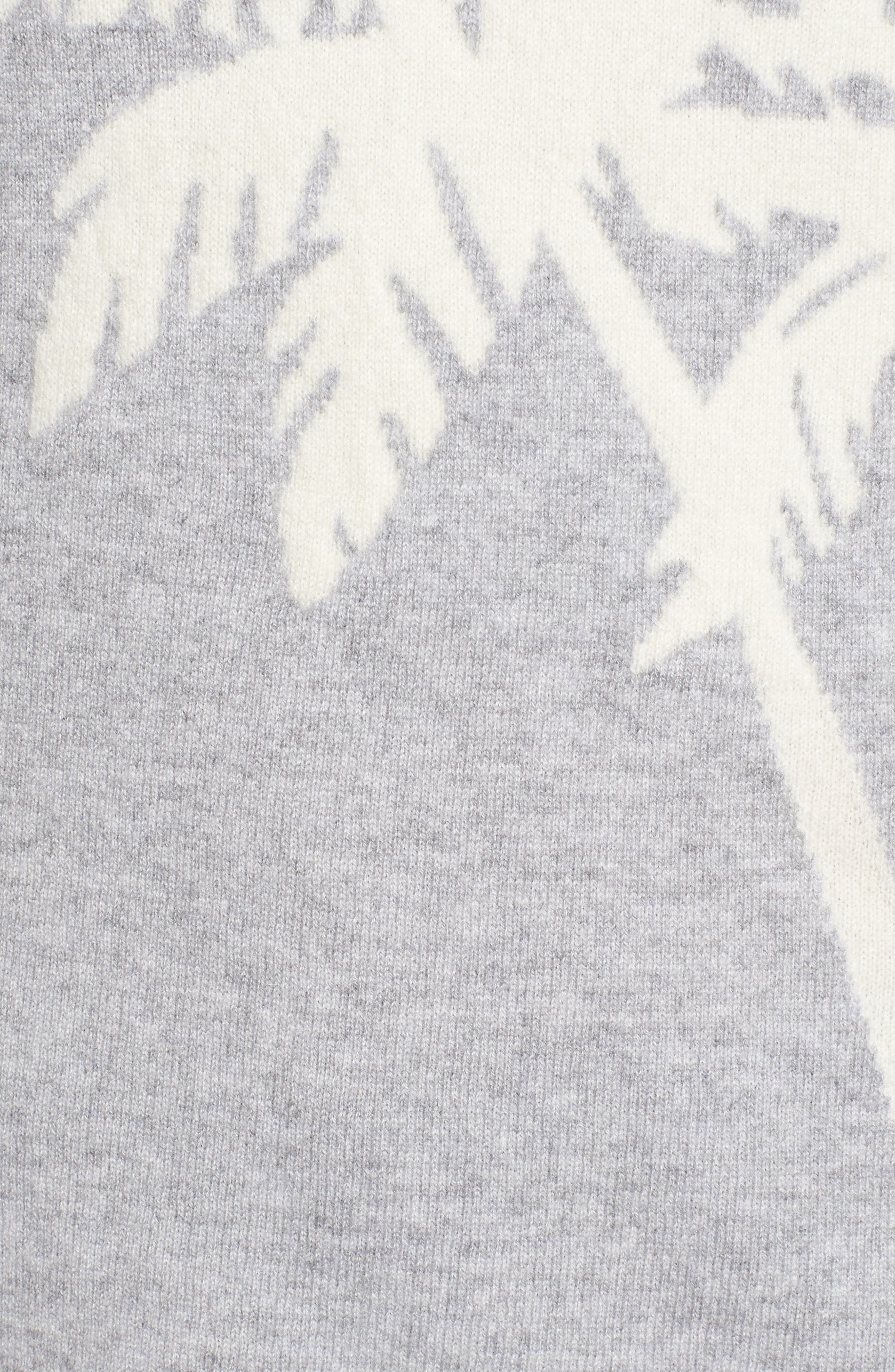 Island Palm Intarsia Cashmere Pullover,                             Alternate thumbnail 5, color,                             LIGHT GREY HEATHER