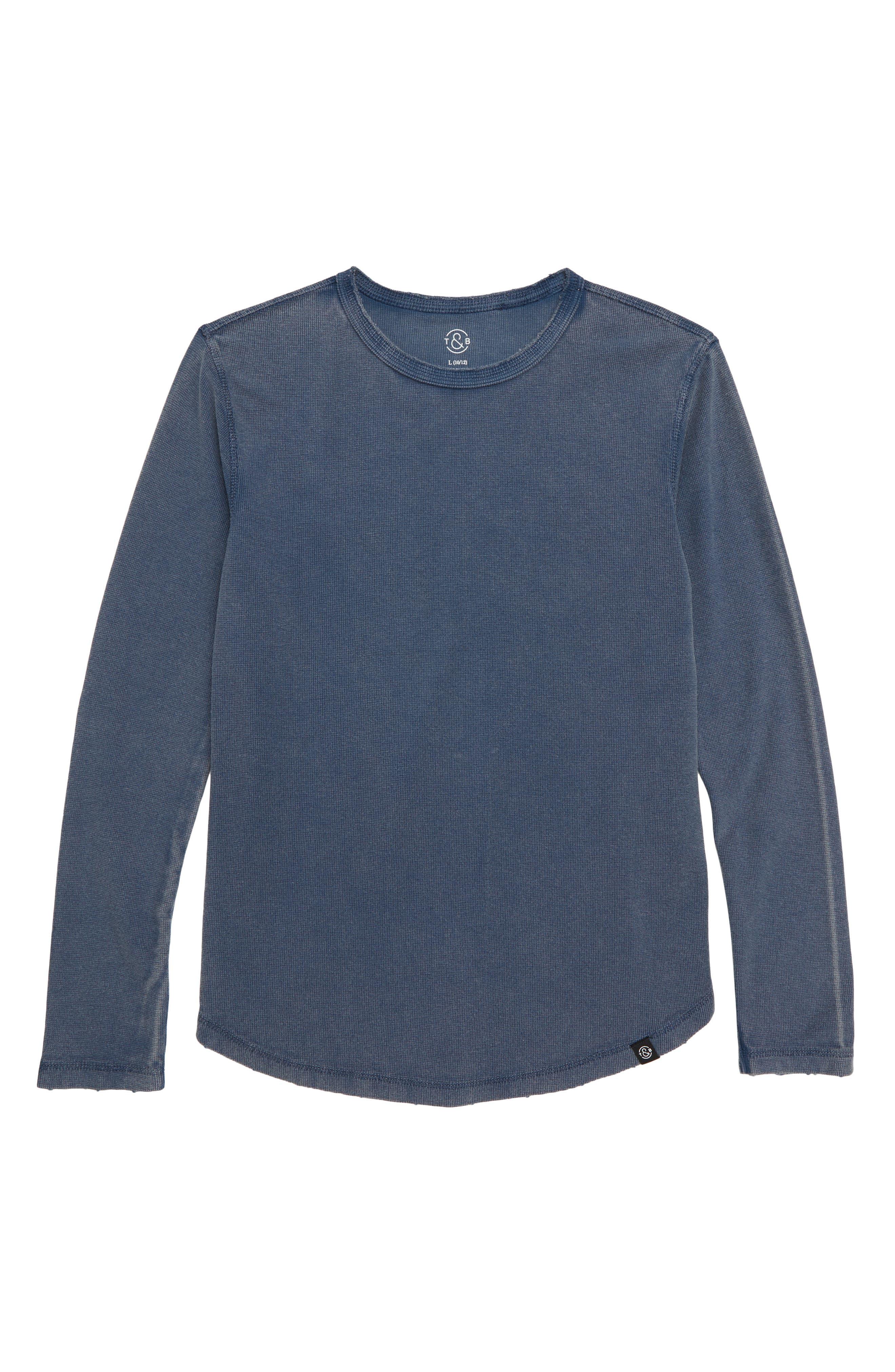 Boys Treasure  Bond Distressed Waffle Long Sleeve TShirt Size L (1012)  Blue