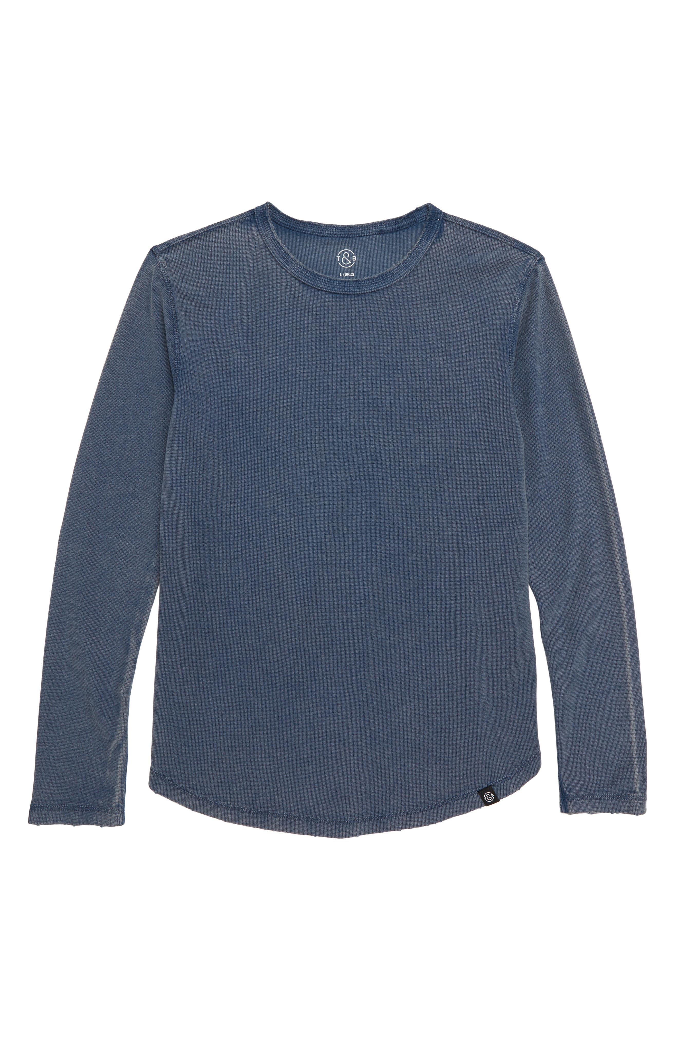 Distressed Waffle Long Sleeve T-Shirt,                         Main,                         color, NAVY INDIA INK