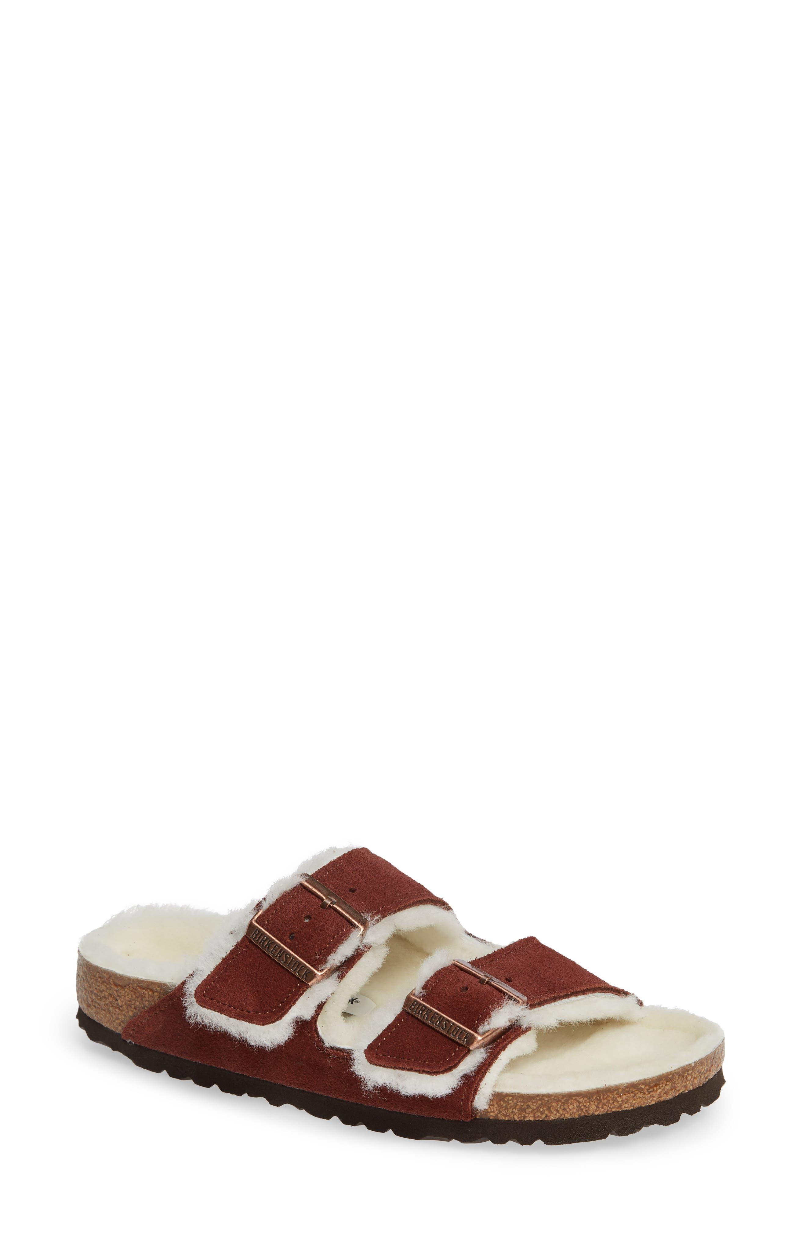 'Arizona' Genuine Shearling Lined Sandal,                             Main thumbnail 1, color,                             PORT SUEDE