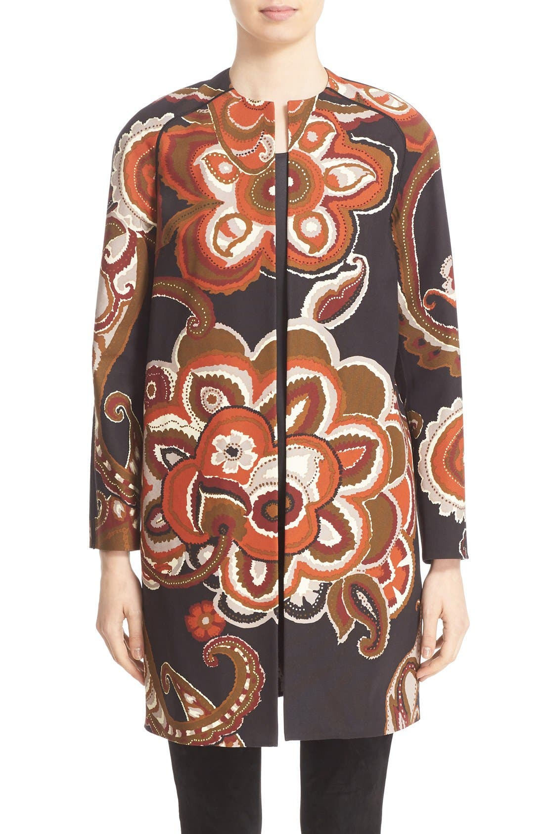 'Makeda' Paisley Print Faille Jacket, Main, color, 001