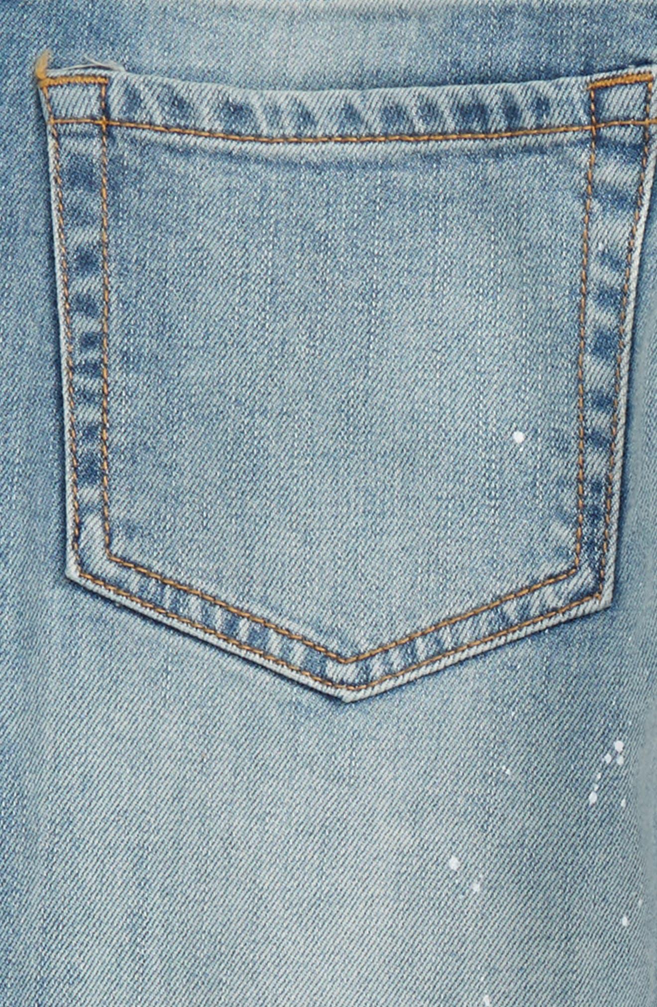 Crop Distressed Girlfriend Jeans,                             Alternate thumbnail 3, color,                             450