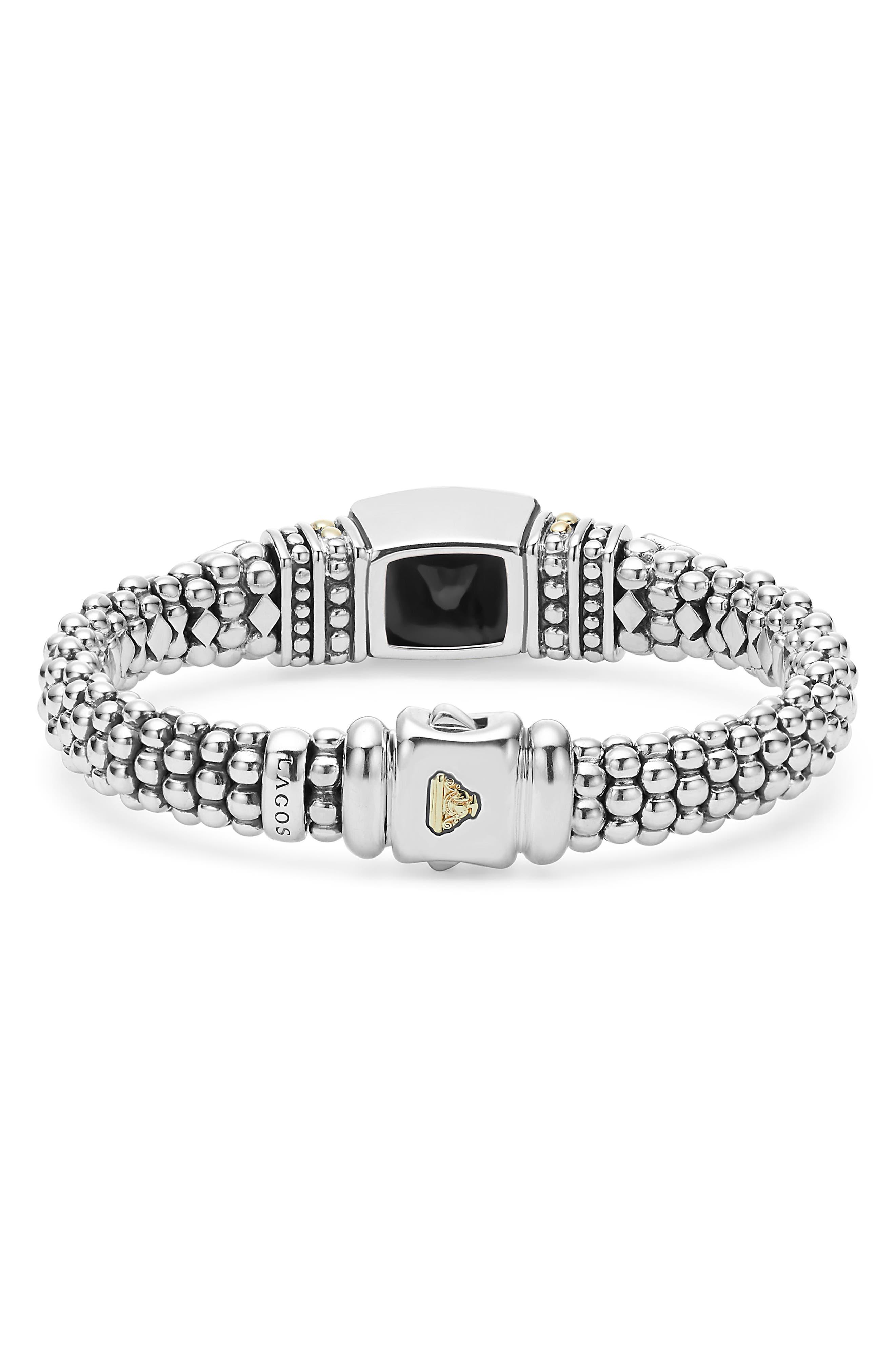 'Caviar Color' Semiprecious Stone Bracelet,                             Alternate thumbnail 2, color,                             BLACK ONYX