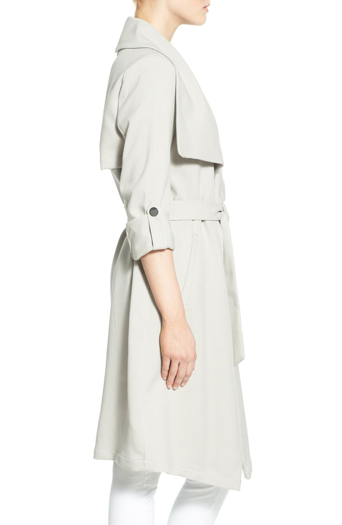 Roll Sleeve Drape Front Long Trench Coat,                             Alternate thumbnail 29, color,