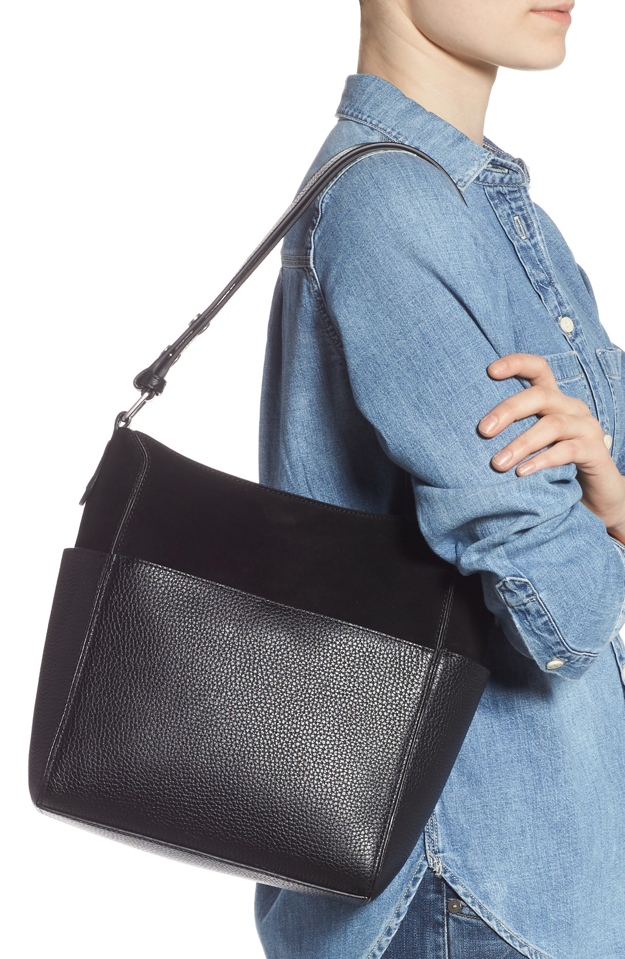 TREASURE & BOND,                             Campbell Leather & Suede Bucket Bag,                             Alternate thumbnail 2, color,                             BLACK