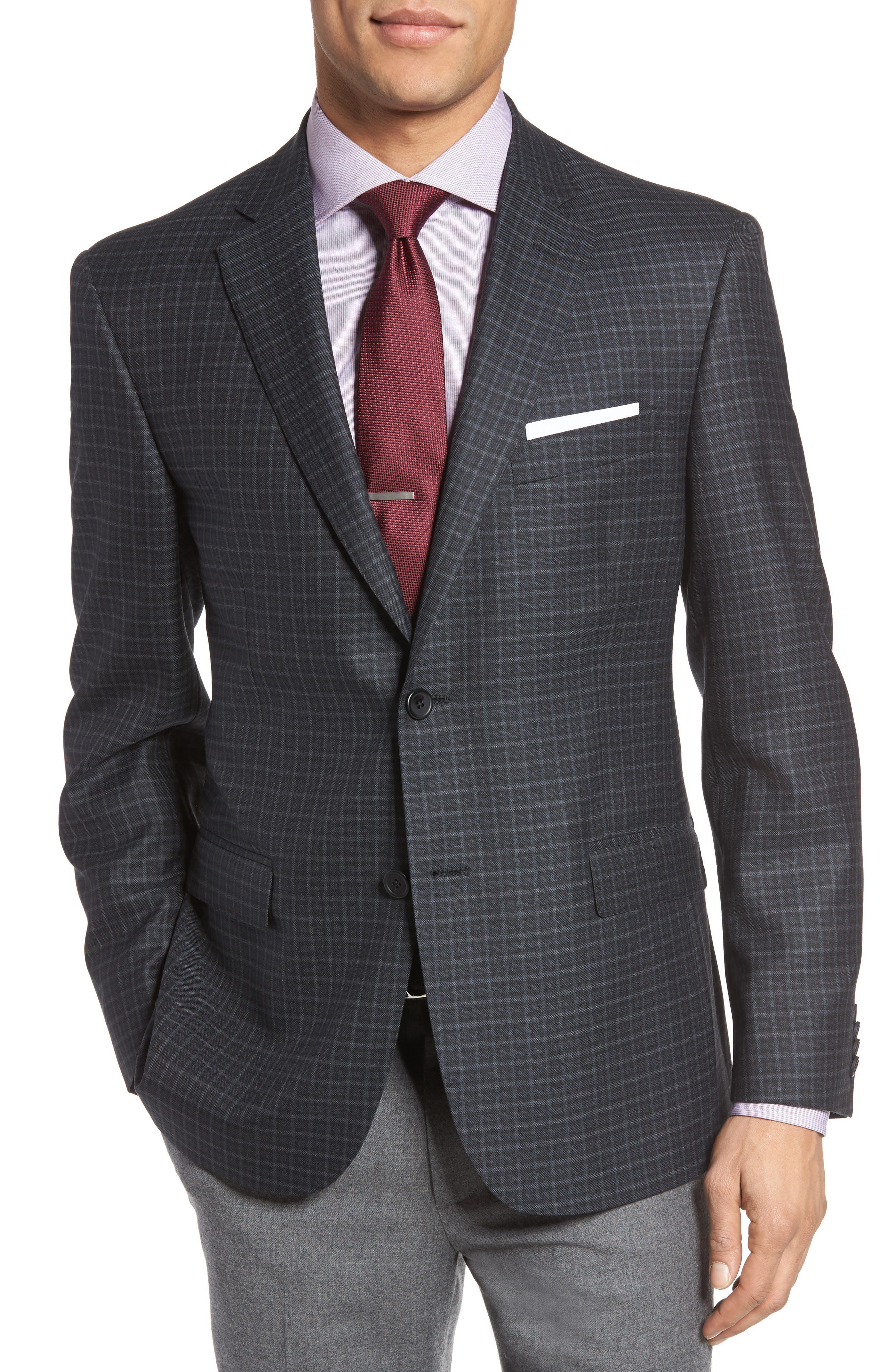 Classic Fit Check Wool Sport Coat,                             Main thumbnail 1, color,                             020