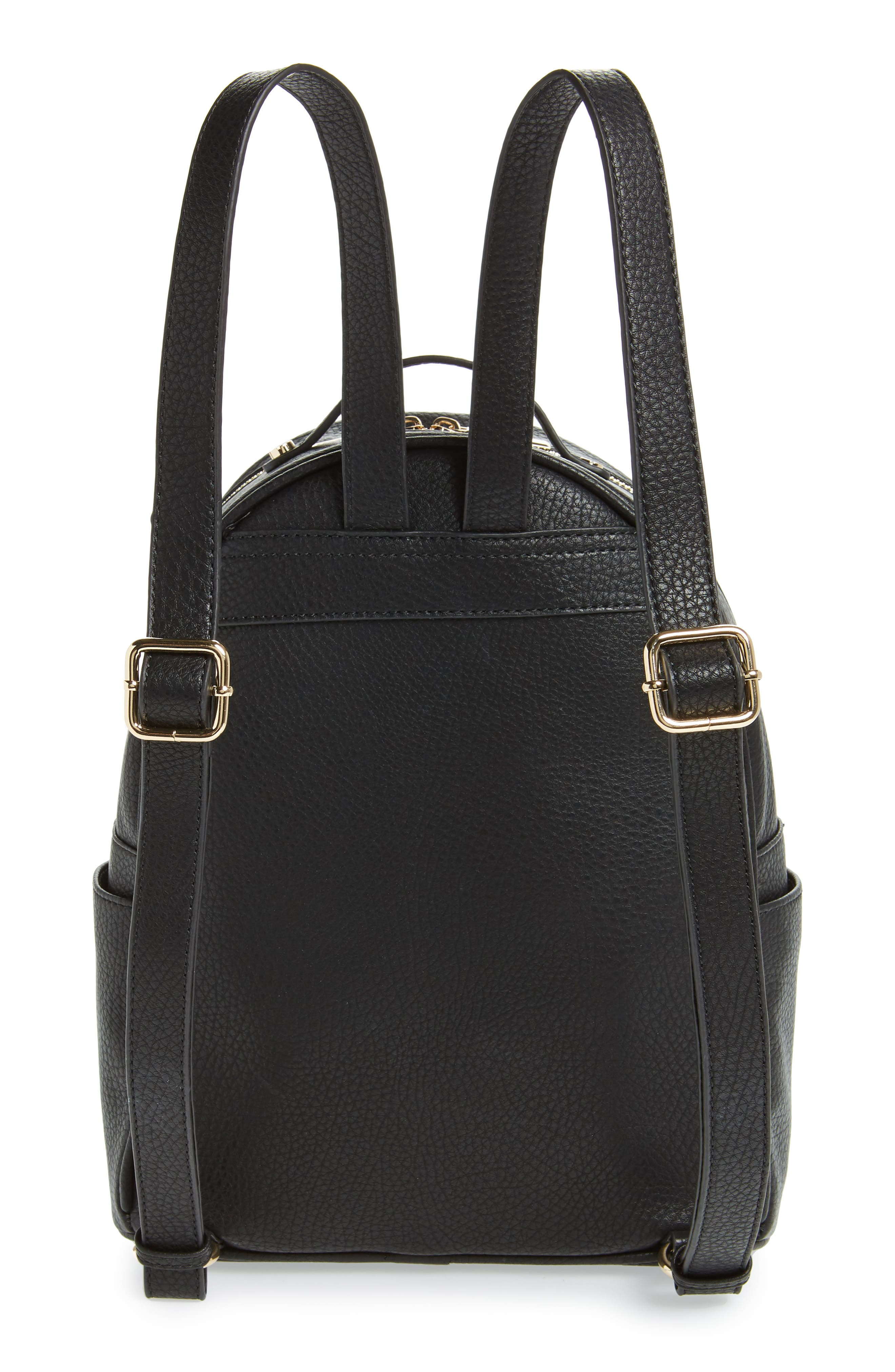 MALI + LILI,                             Addie Vegan Leather Backpack,                             Alternate thumbnail 3, color,                             BLACK