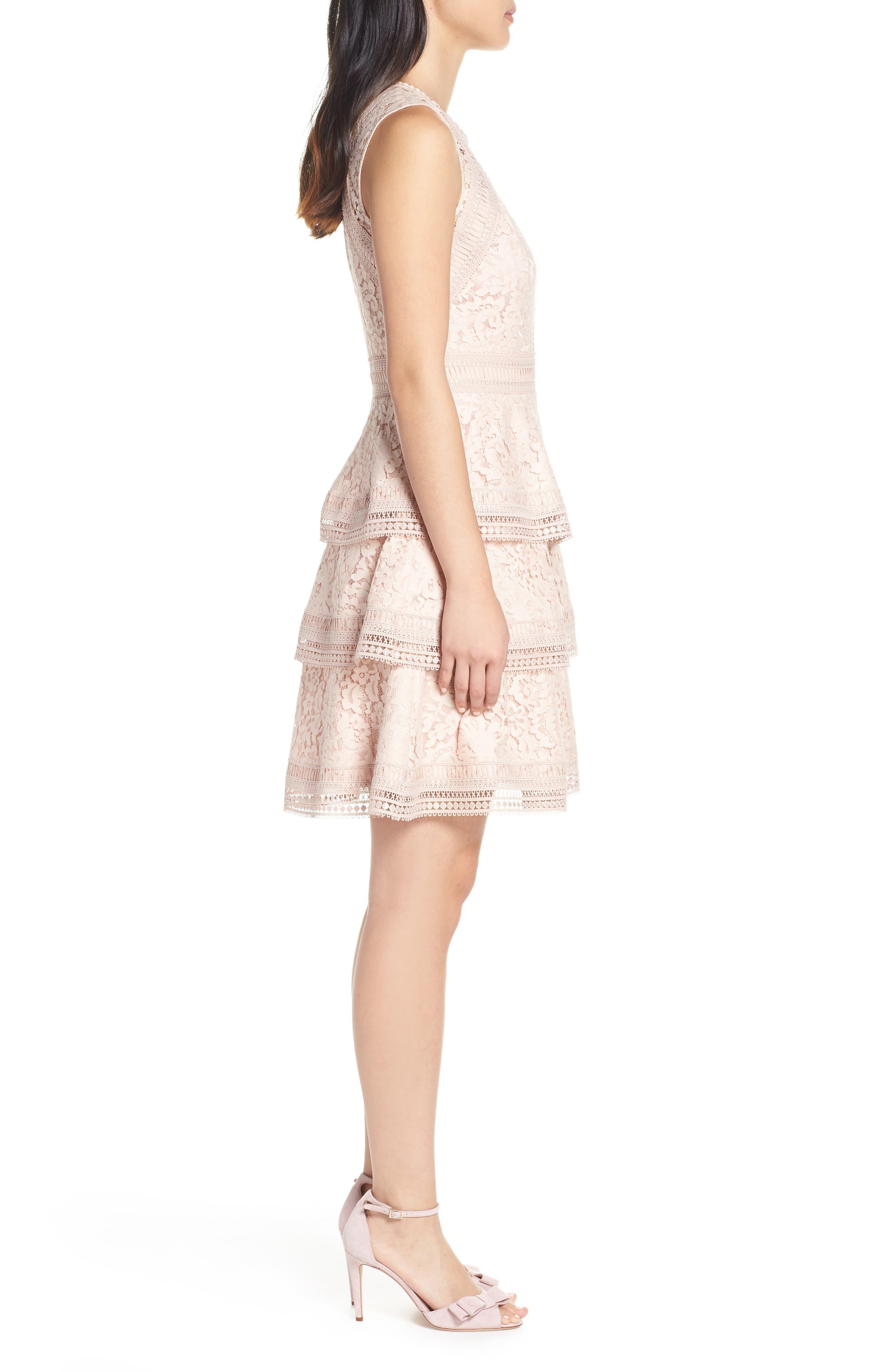 ELIZA J,                             Lace Fit & Flare Dress,                             Alternate thumbnail 3, color,                             BLUSH