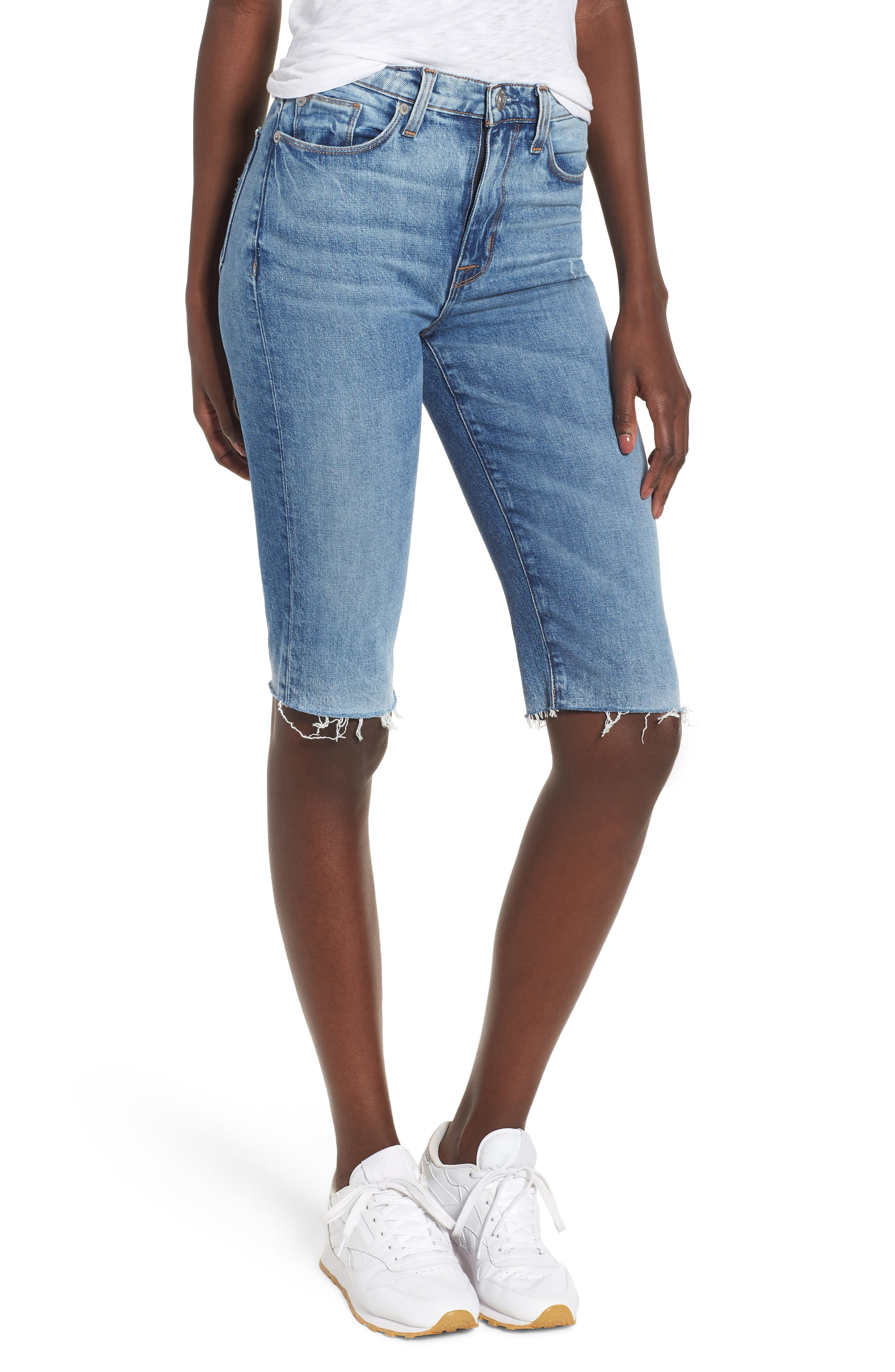 Zoeey High Waist Cutoff Boyfriend Shorts,                         Main,                         color, JUST FOR KICKS