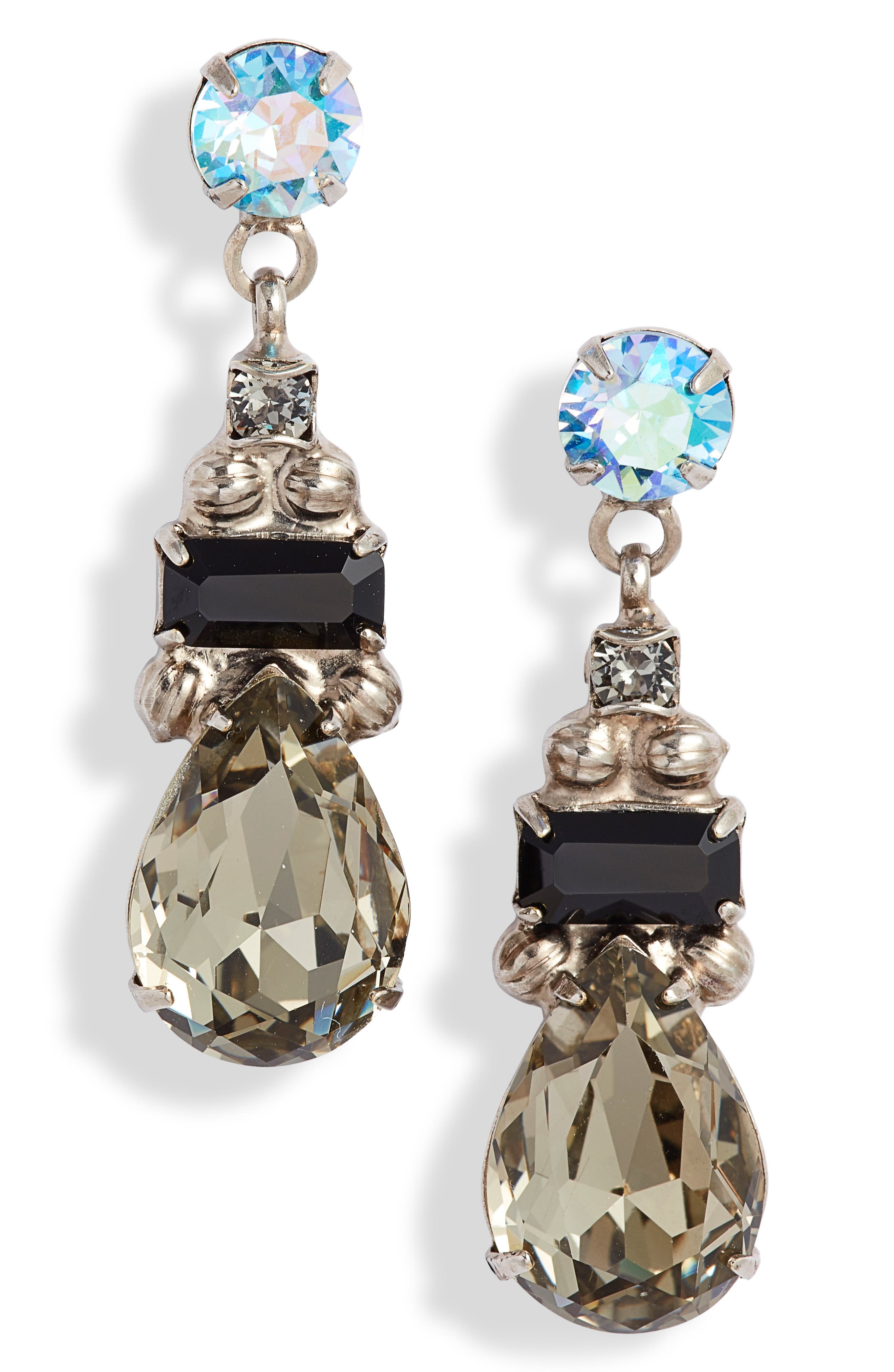 SORRELLI Pear Crystal Drop Earrings in Black