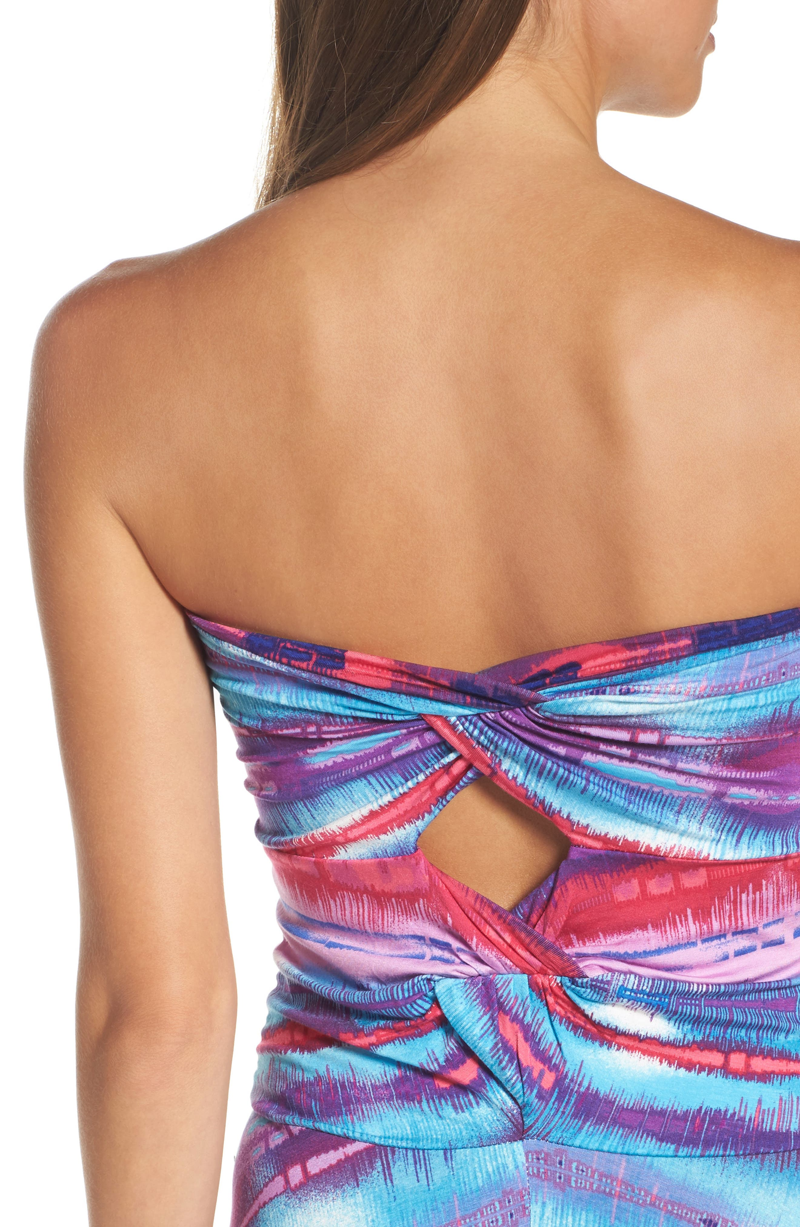 Strapless Neon Print Maxi Dress,                             Alternate thumbnail 4, color,                             429