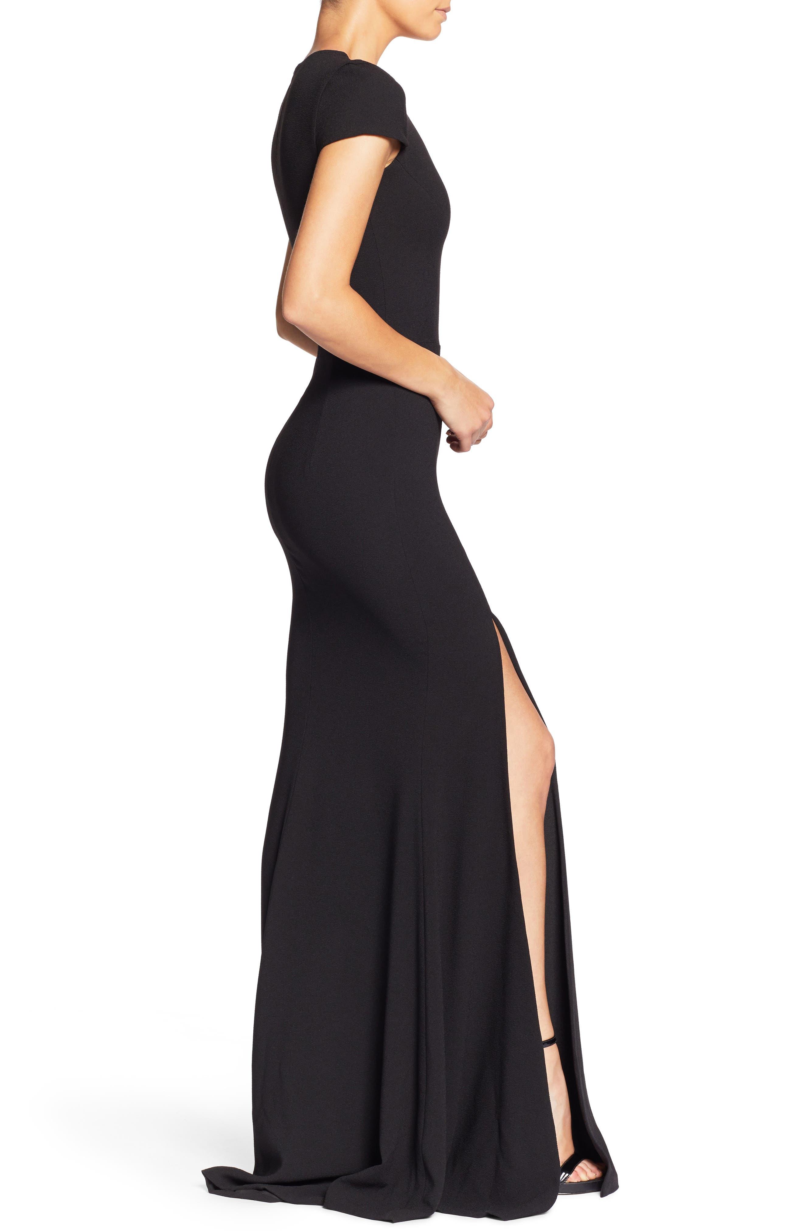 Leah Illusion Inset Crepe Gown,                             Alternate thumbnail 3, color,                             BLACK