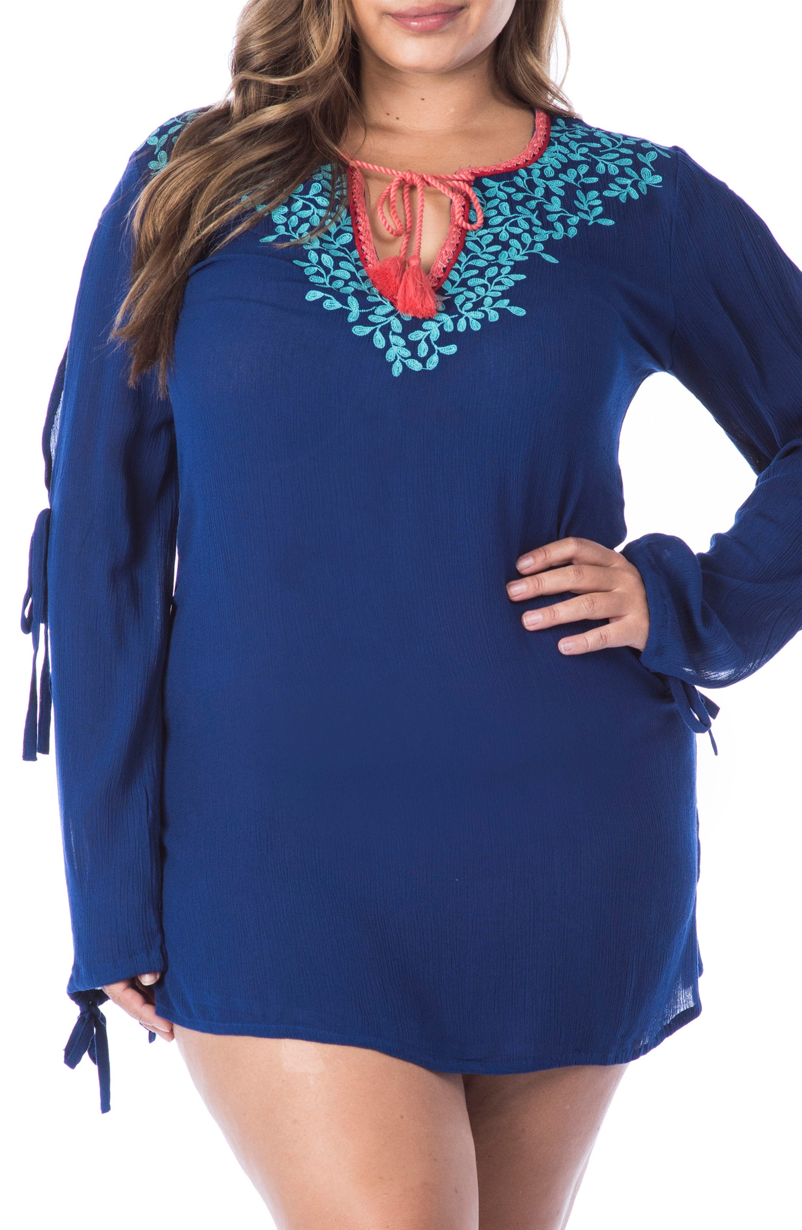 Leaf It Cover-Up Tunic,                             Main thumbnail 1, color,                             409