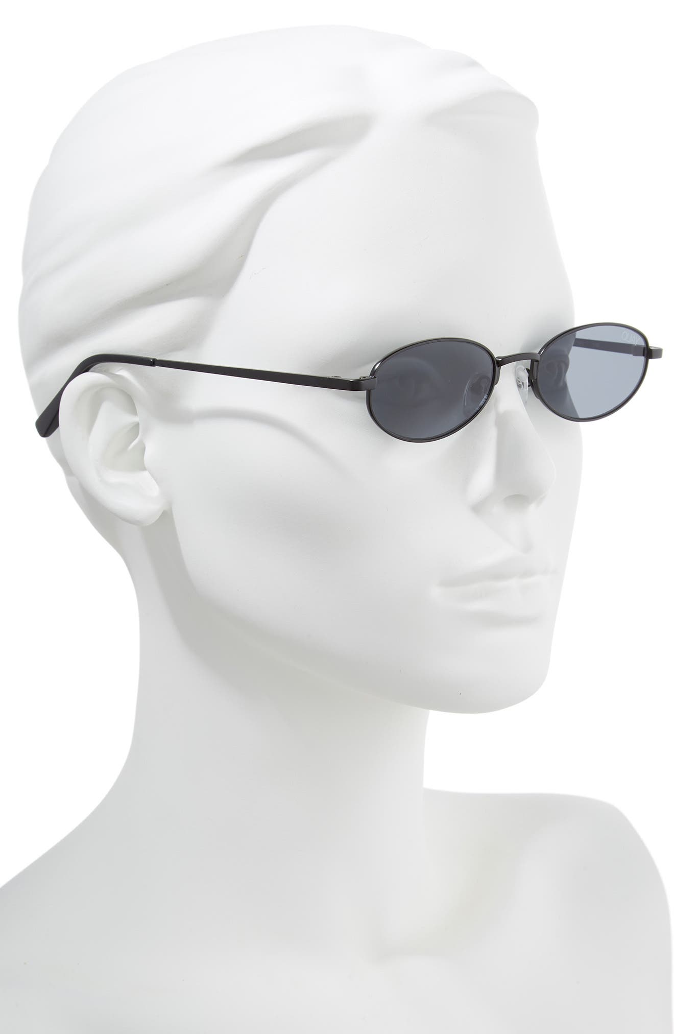 49mm Showdown Oval Sunglasses,                             Alternate thumbnail 2, color,                             BLACK/ SMOKE