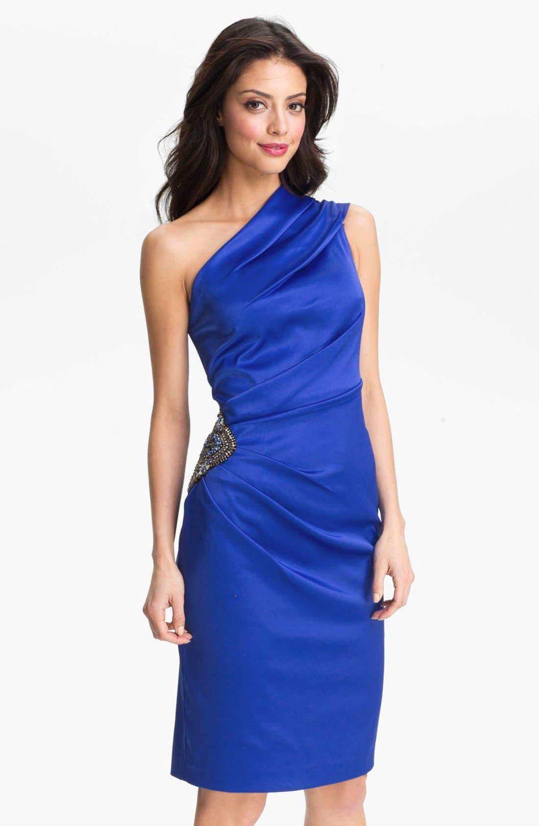 Beaded One-Shoulder Satin Dress,                             Main thumbnail 3, color,