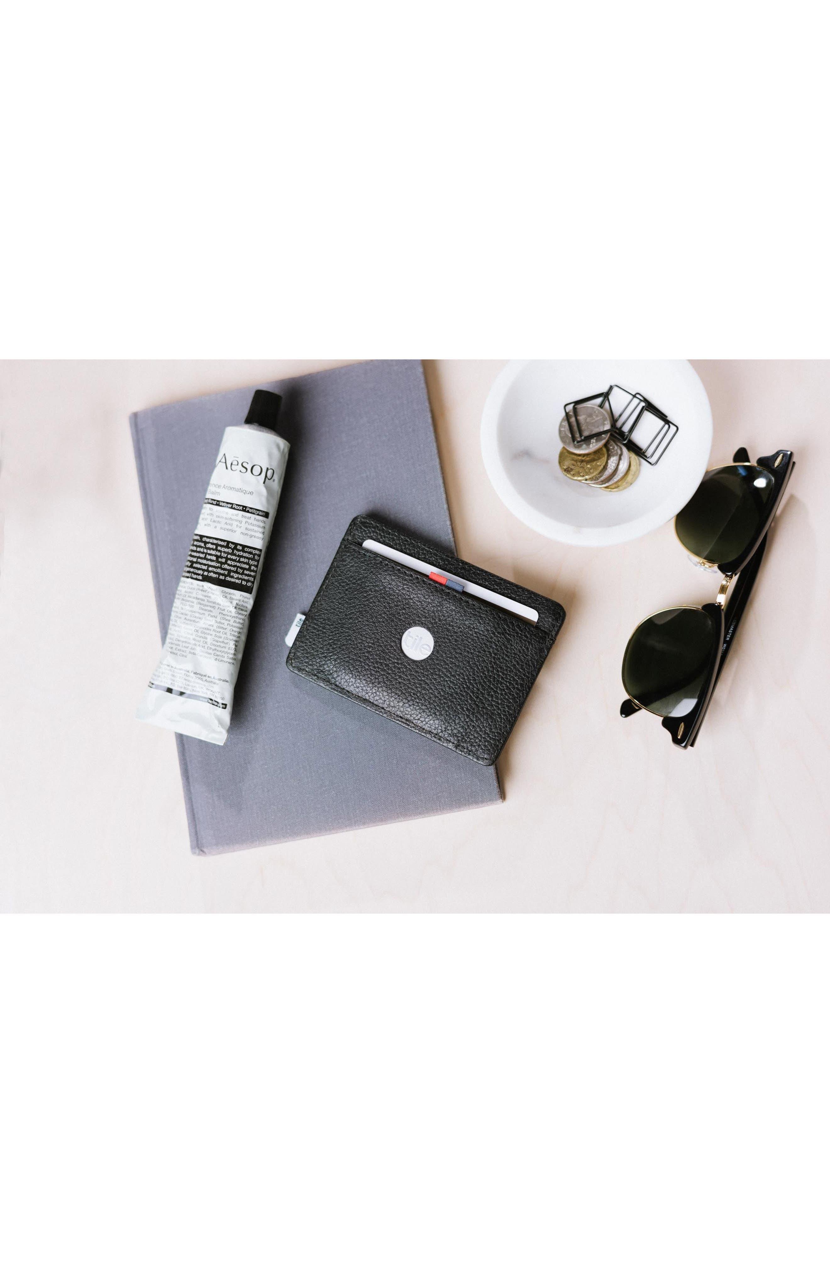 Tile Slim Charlie Leather Card Case,                             Alternate thumbnail 5, color,                             BLACK PEBBLED LEATHER