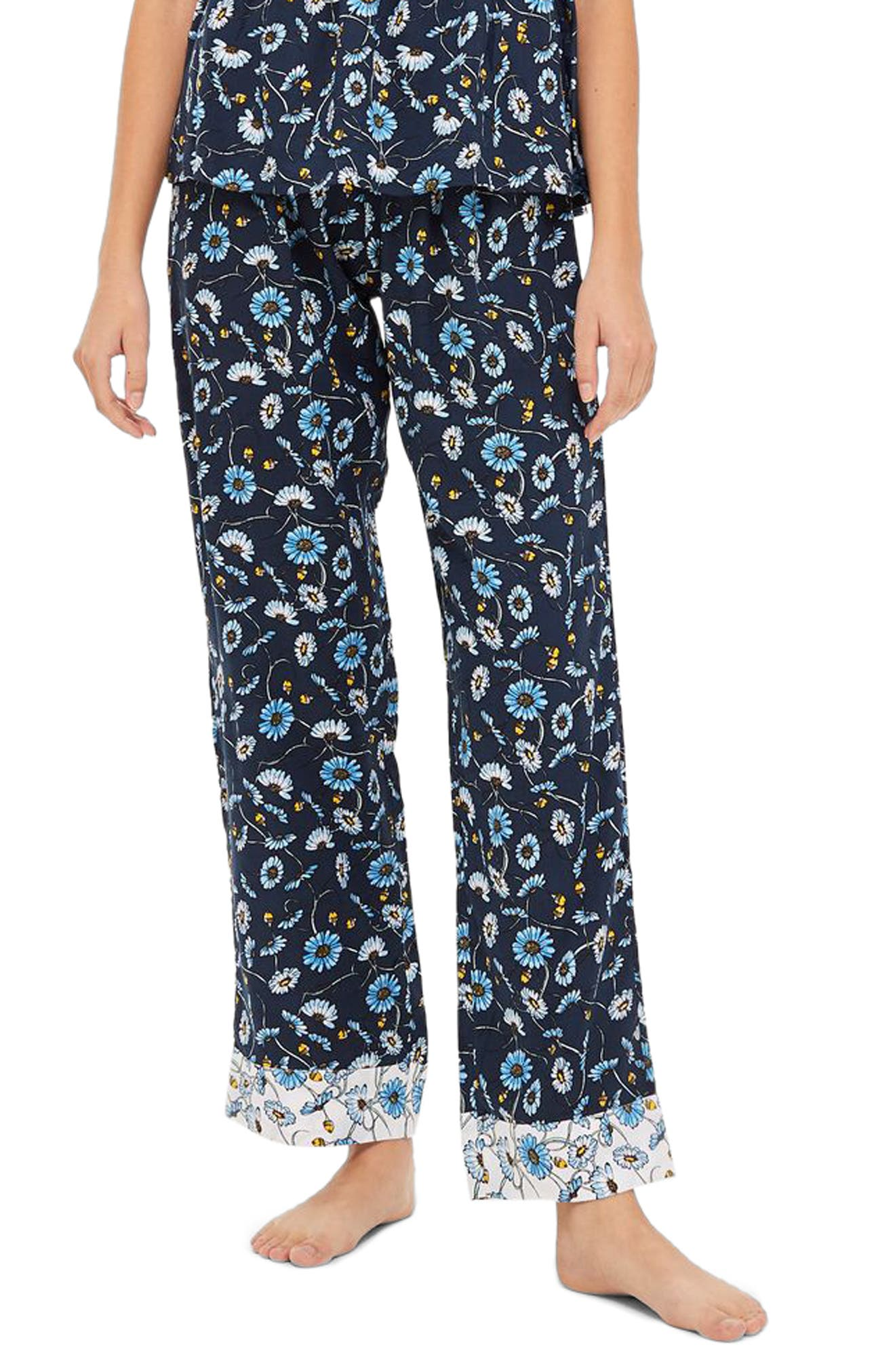 Floral Sleep Trouser Pajama Pants,                             Main thumbnail 1, color,                             NAVY MULTI