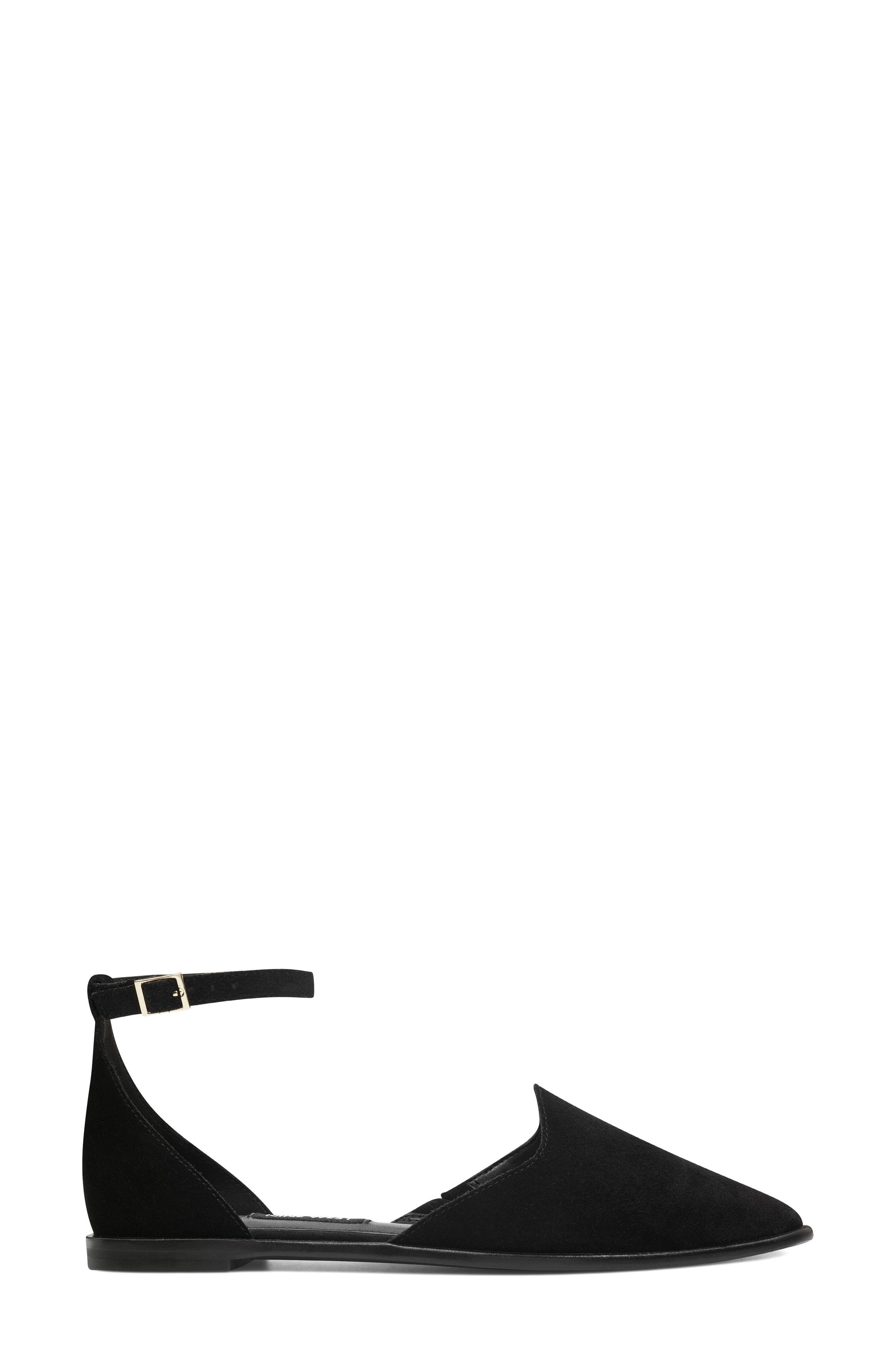 Oriona Ankle Strap Flat,                             Alternate thumbnail 3, color,                             001