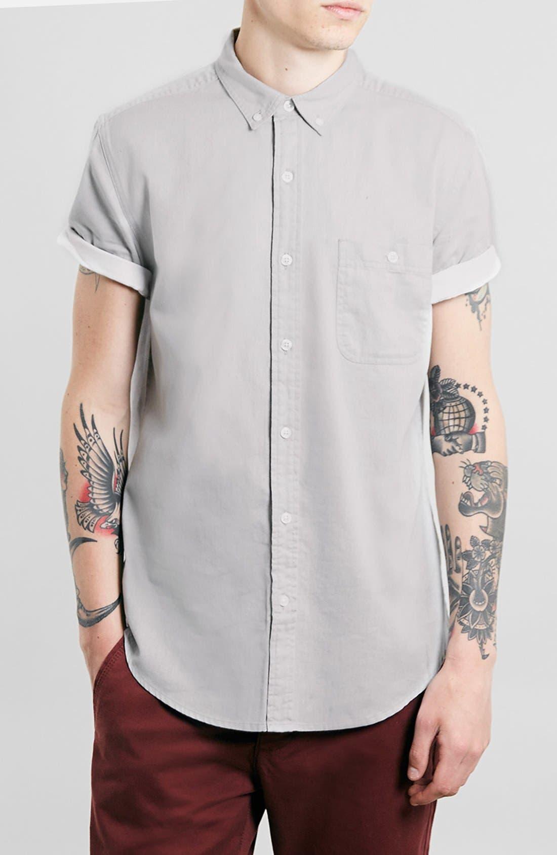 TOPMAN,                             Contrast Trim Short Sleeve Cotton Shirt,                             Alternate thumbnail 3, color,                             020