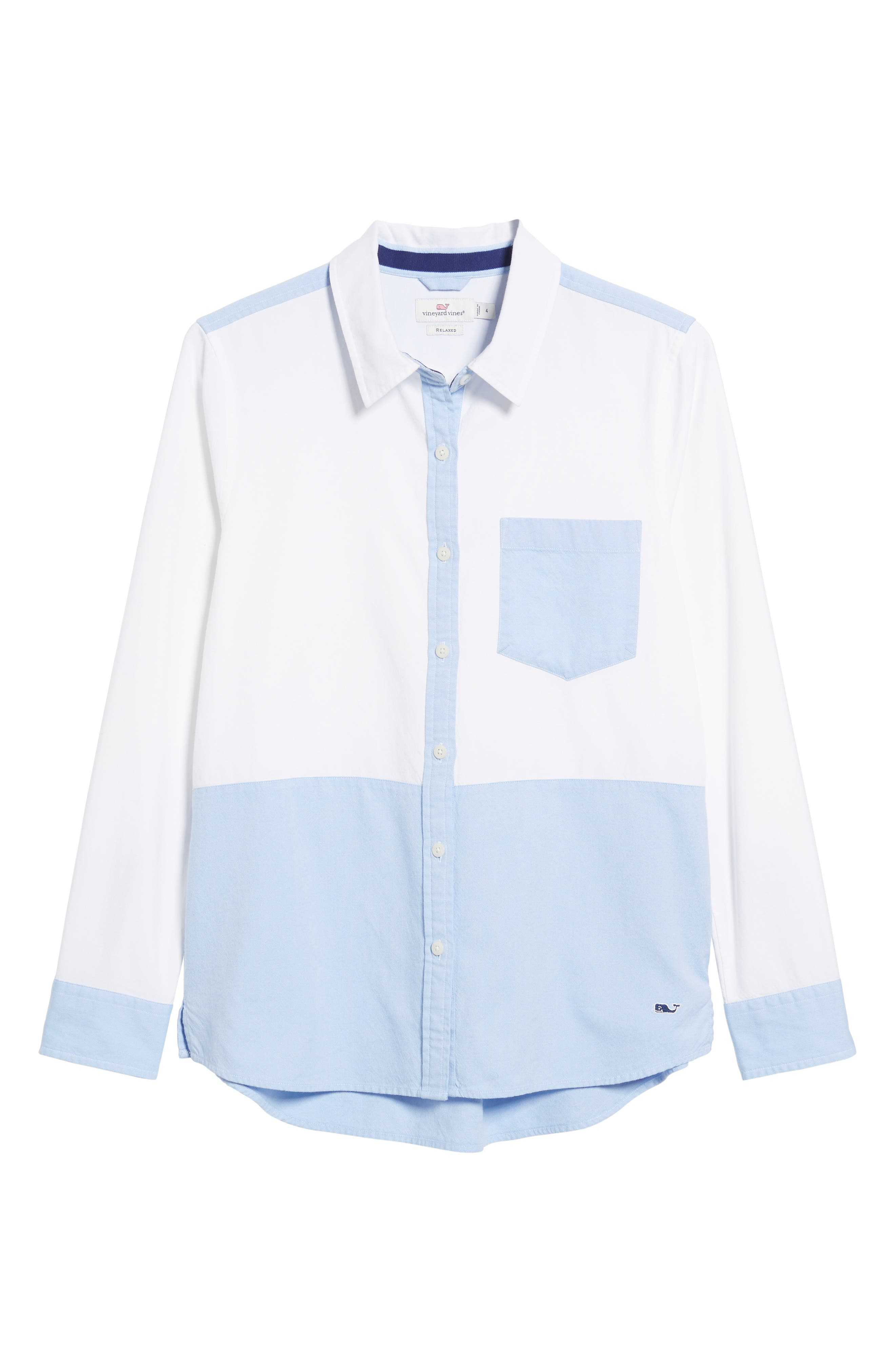 Colorblock Relaxed Oxford Blouse,                             Alternate thumbnail 6, color,                             WHITE CAP