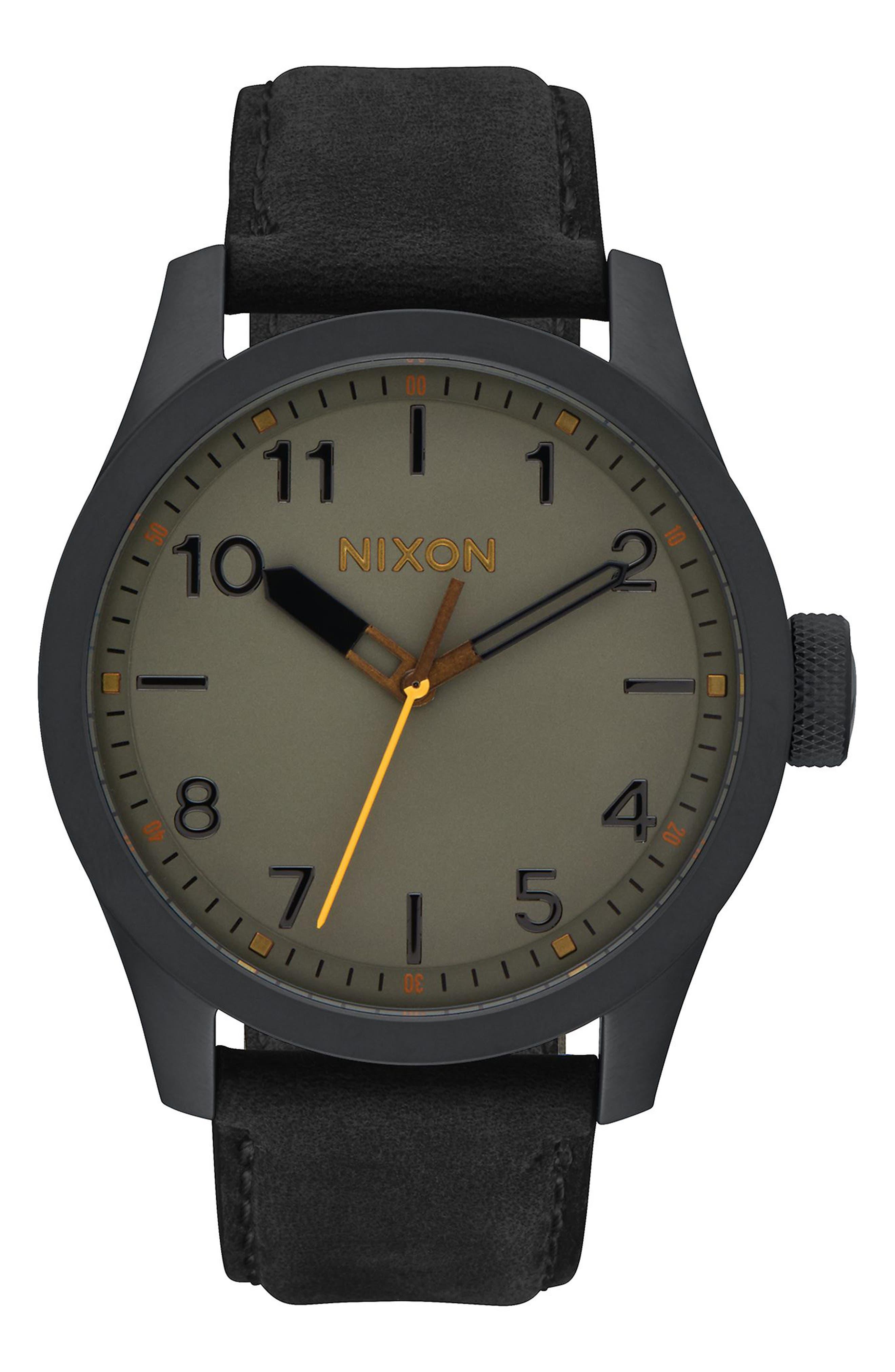 'Safari' Leather Strap Watch, 43mm,                             Alternate thumbnail 2, color,                             001