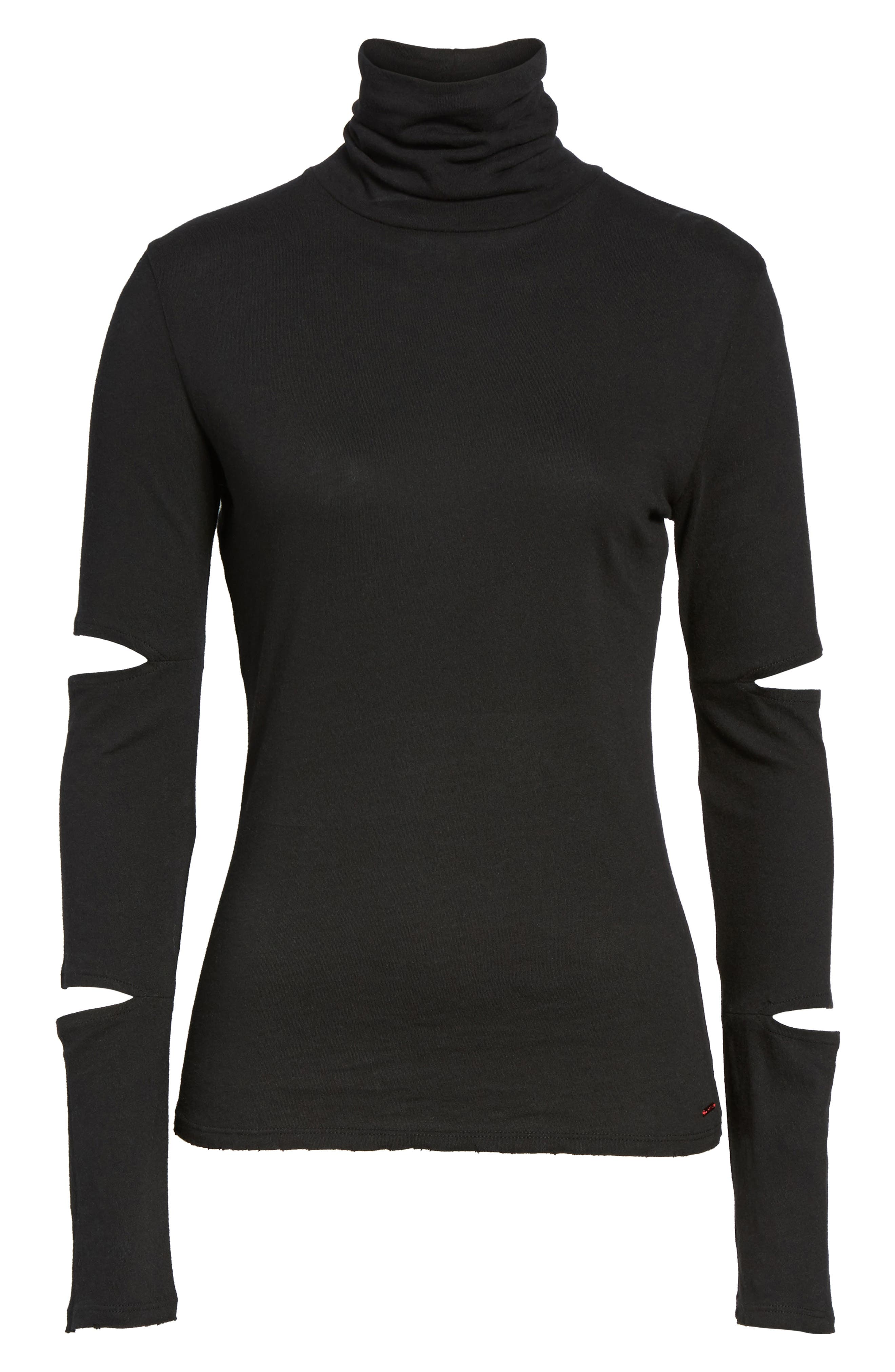 Easton Cutout Turtleneck,                             Alternate thumbnail 6, color,                             001