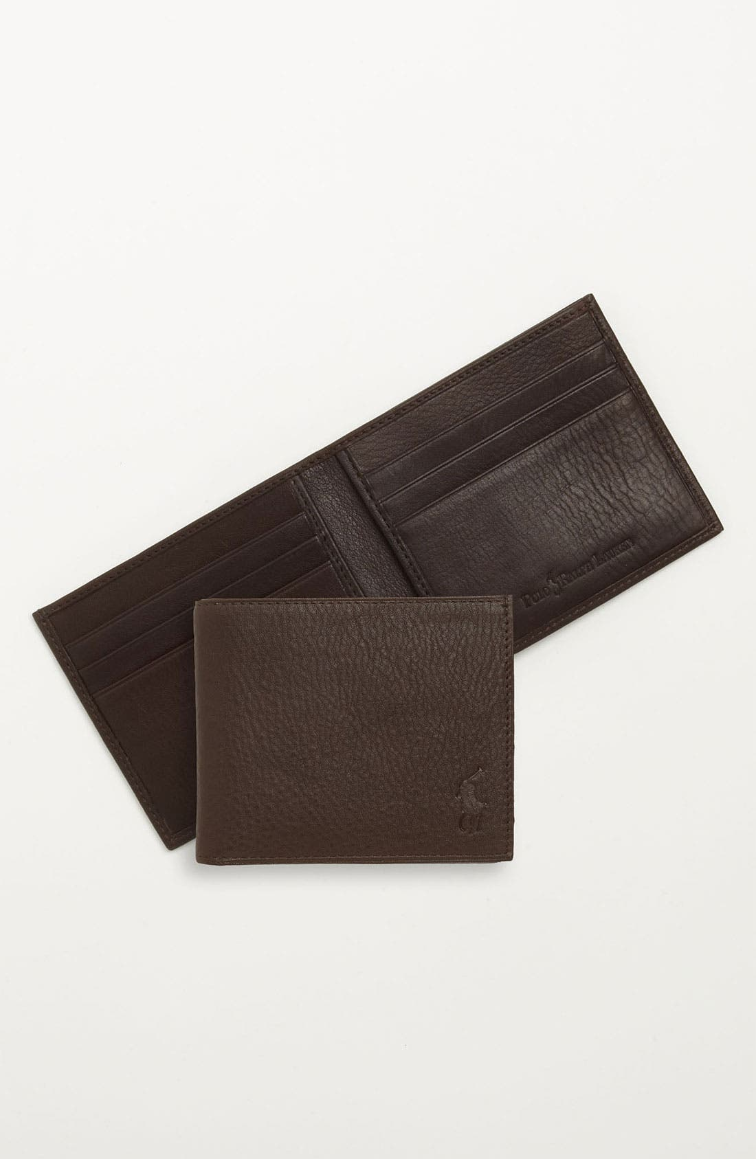 Bifold Leather Wallet,                             Alternate thumbnail 4, color,                             BROWN