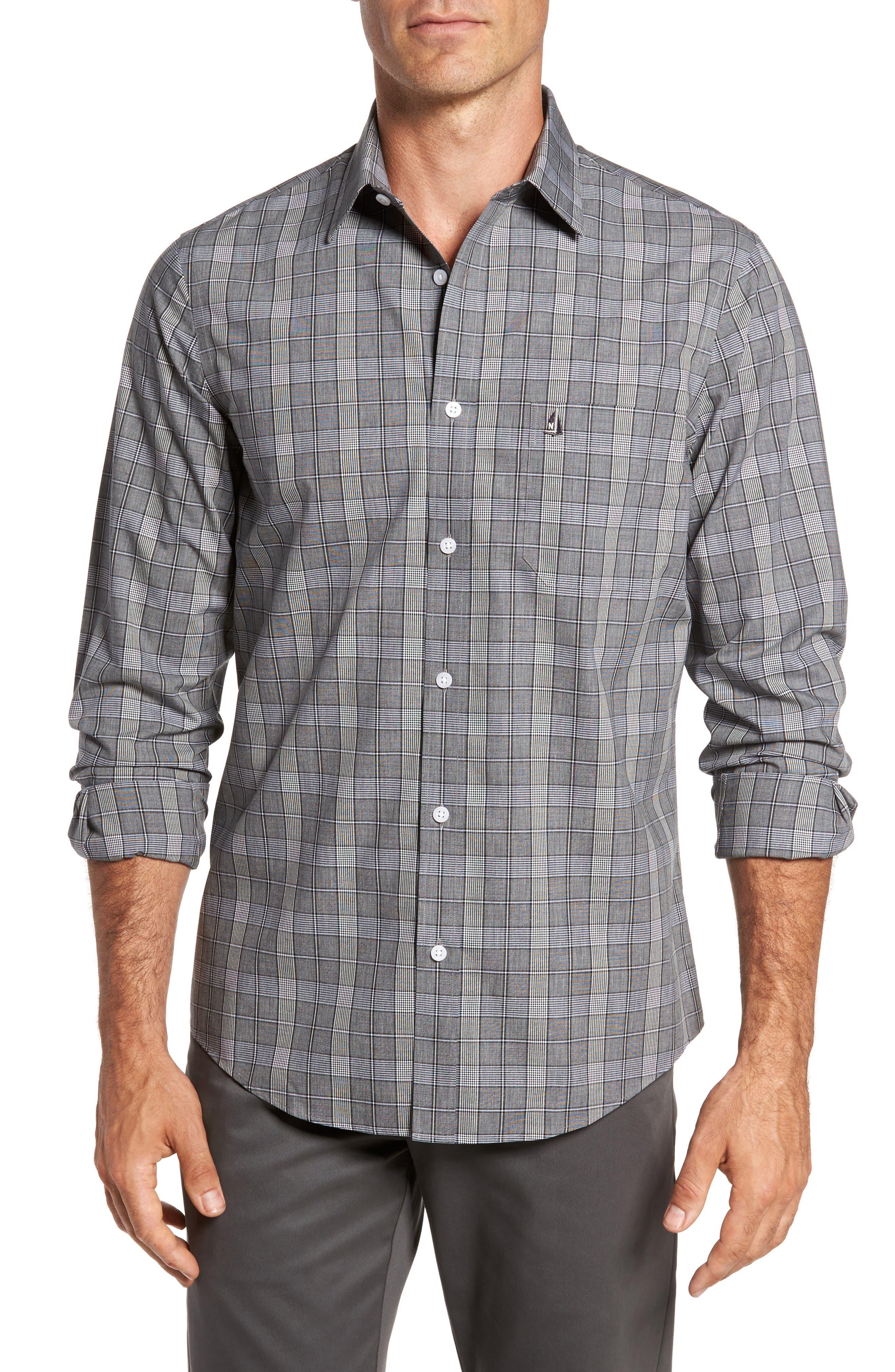 Smartcare<sup>™</sup> Regular Fit Plaid Sport Shirt,                             Main thumbnail 3, color,