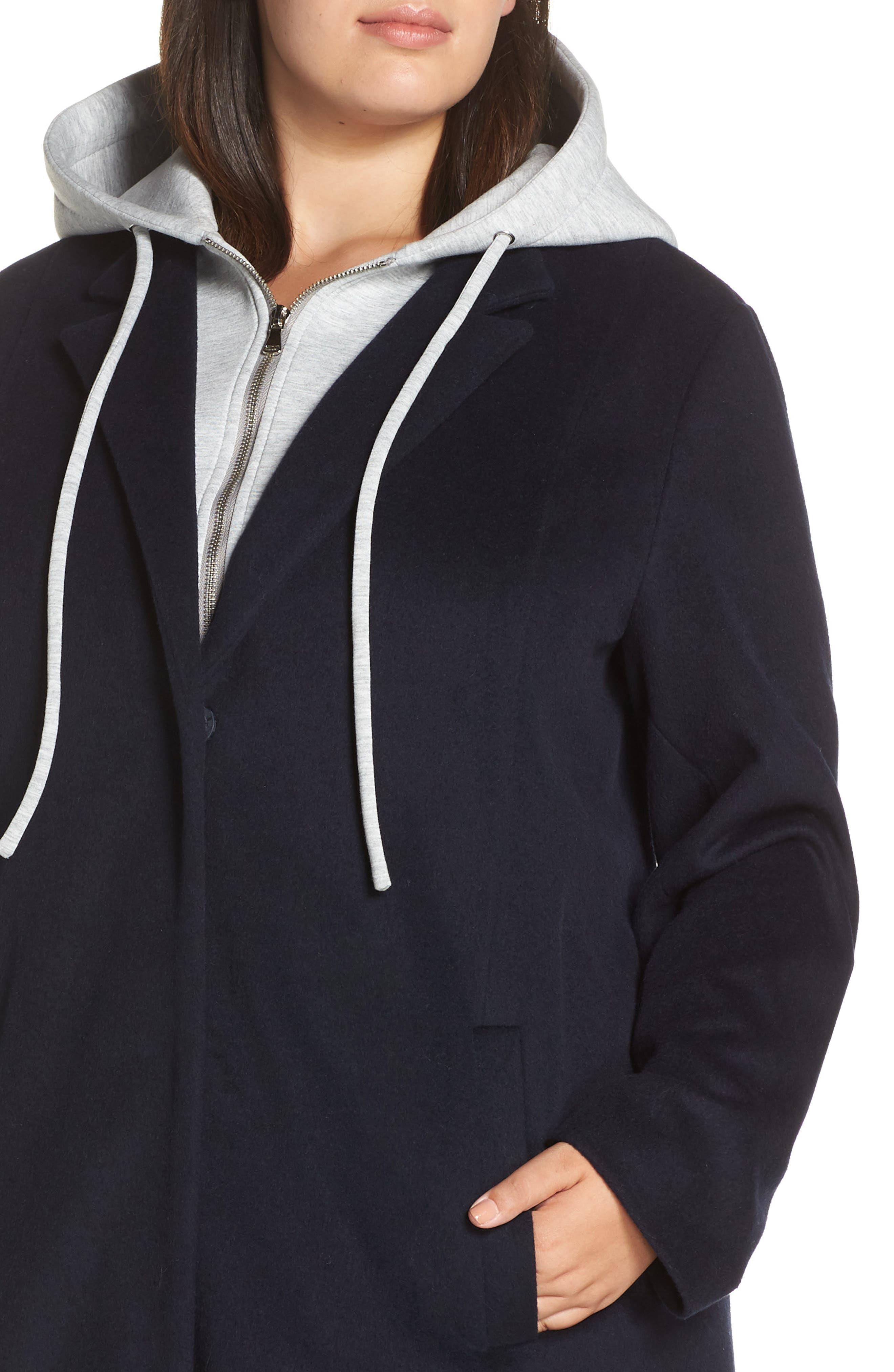 Hoodie Insert Long Wool Coat,                             Alternate thumbnail 4, color,                             NAVY