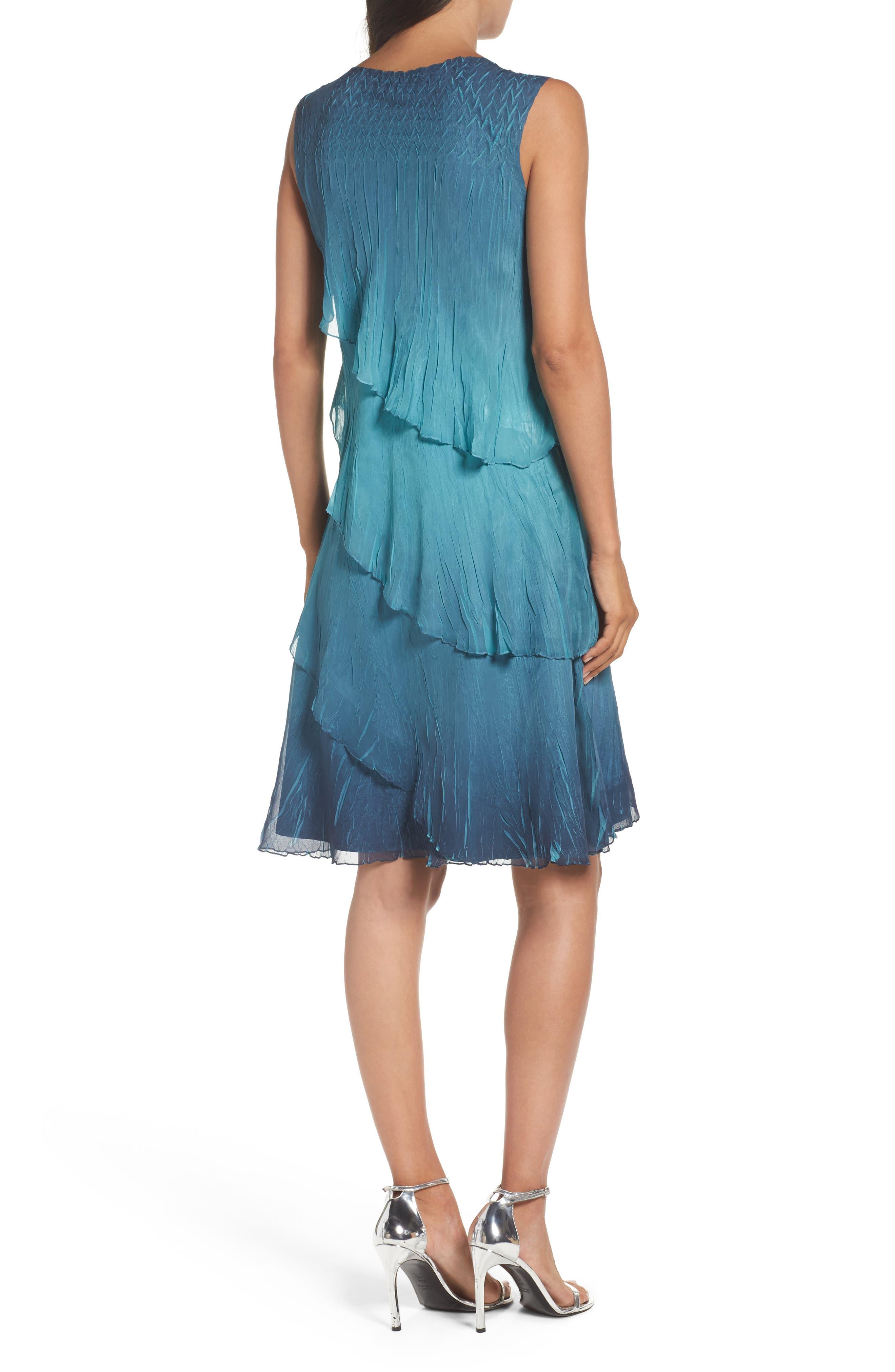 Tiered Chiffon Shift Dress with Shawl,                             Alternate thumbnail 2, color,                             491