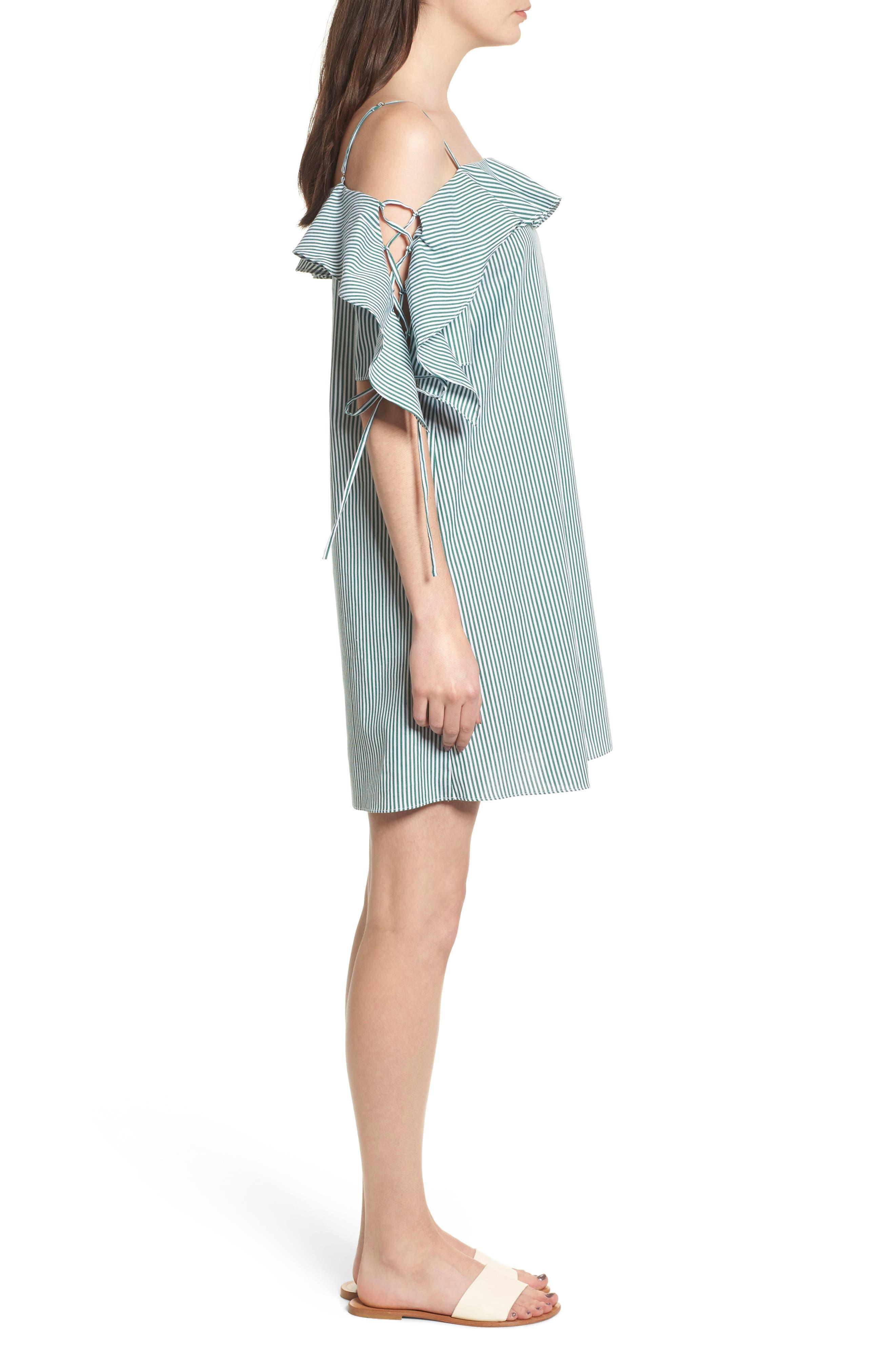 Ruffle Cold Shoulder Shift Dress,                             Alternate thumbnail 3, color,