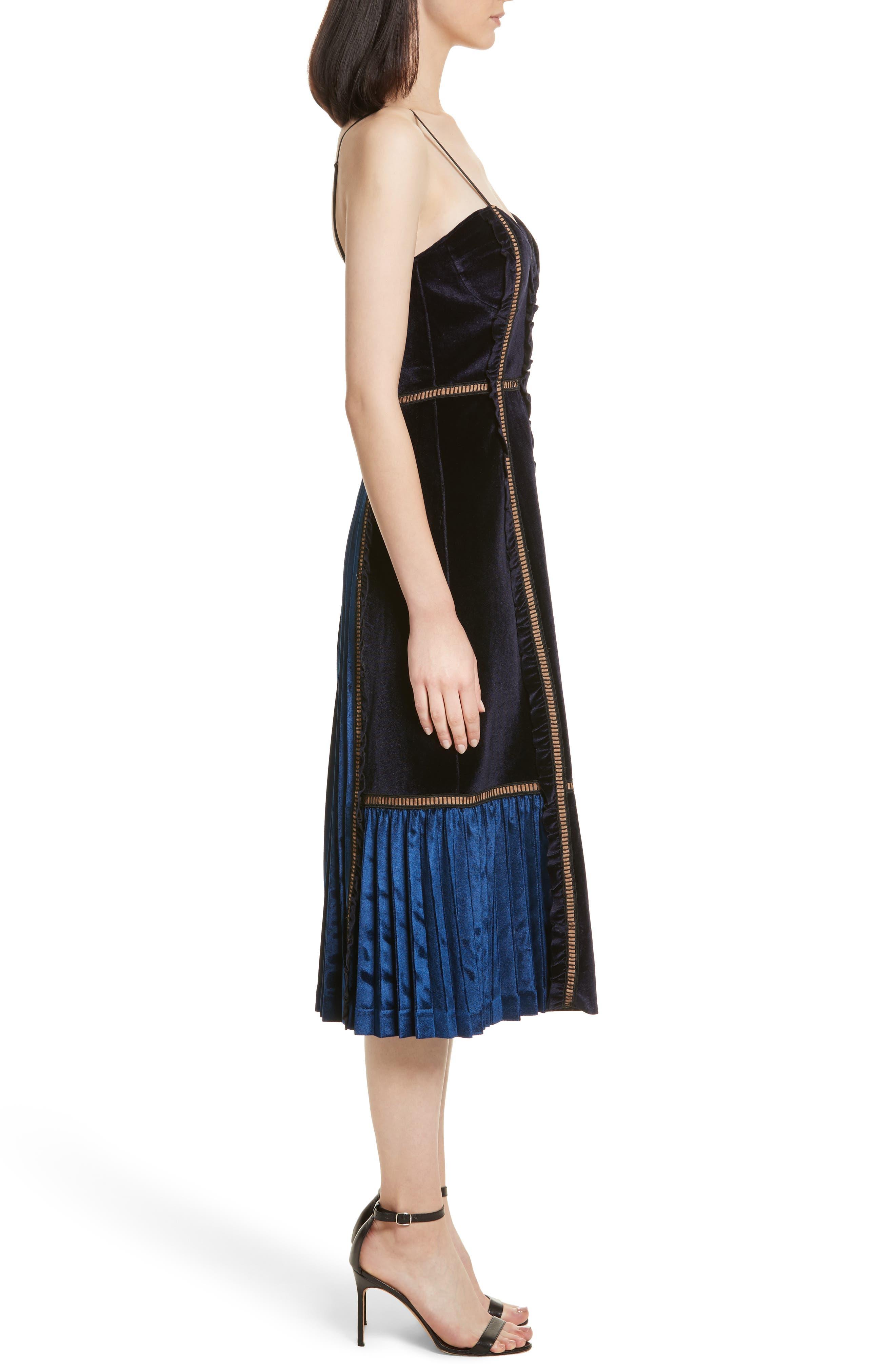 Paneled Velvet Midi Dress,                             Alternate thumbnail 3, color,                             400