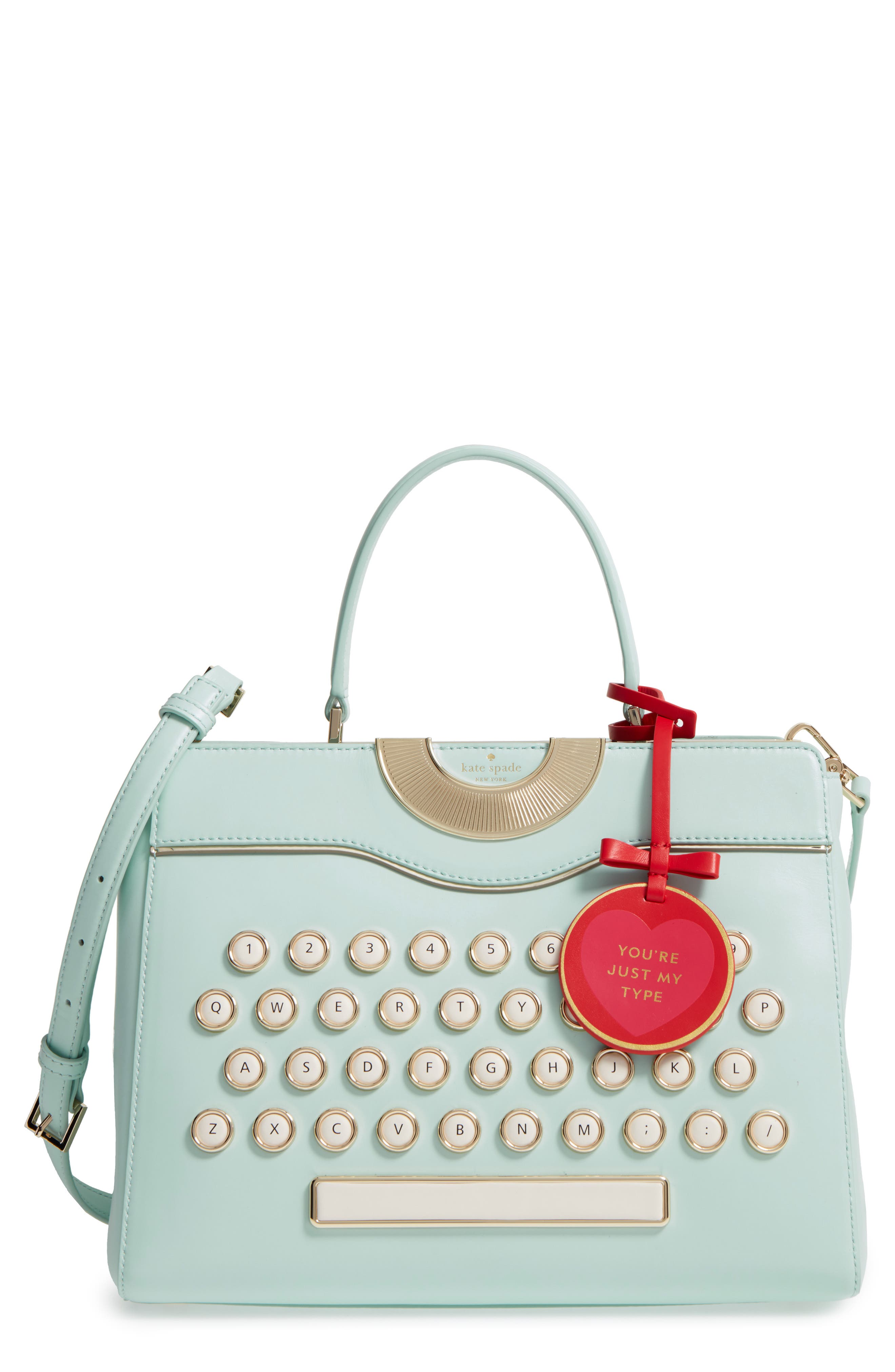 be mine - typewriter leather satchel, Main, color, 474