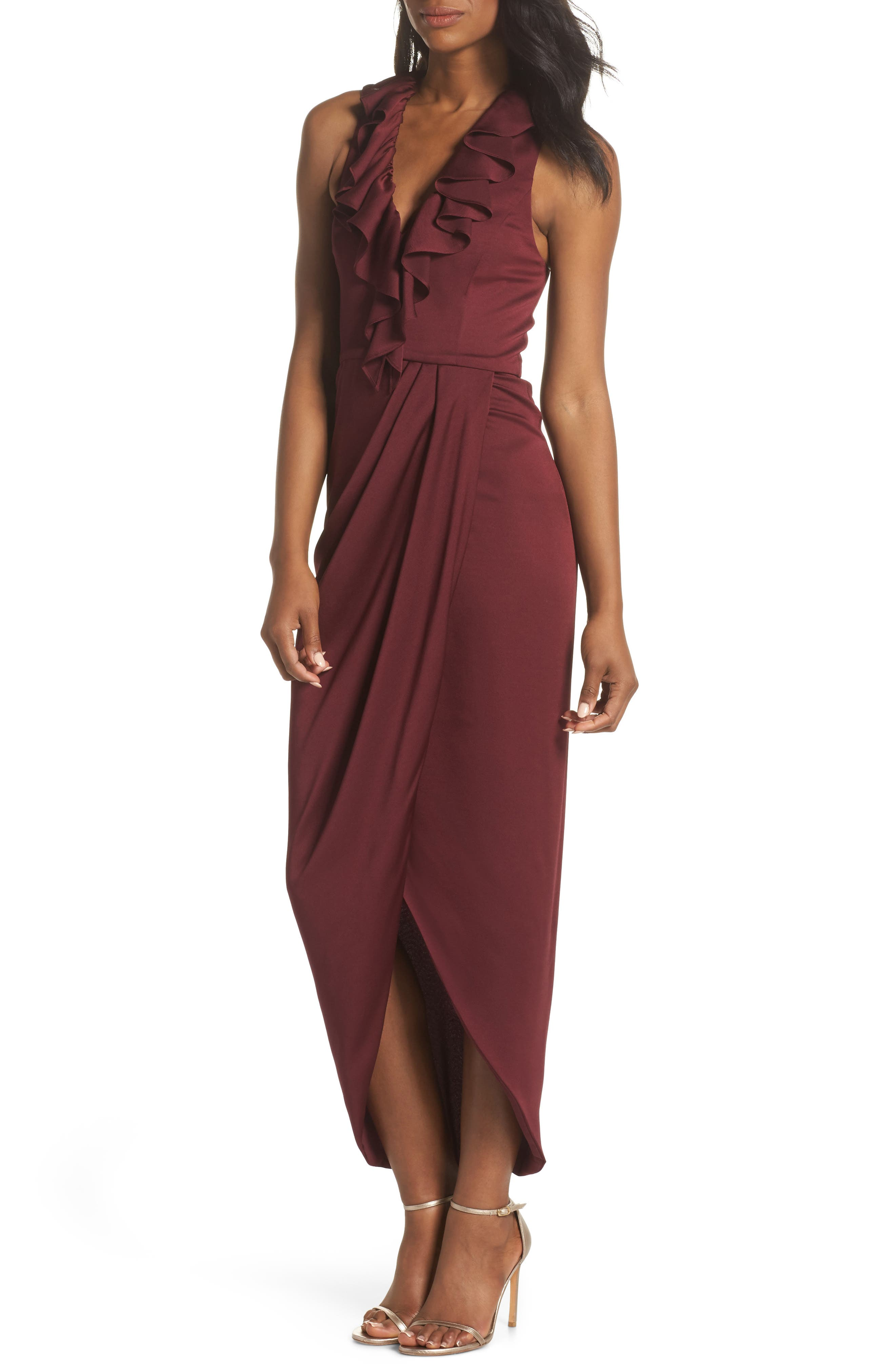 Luxe Plunging Frill Maxi Dress,                             Main thumbnail 1, color,                             GARNET
