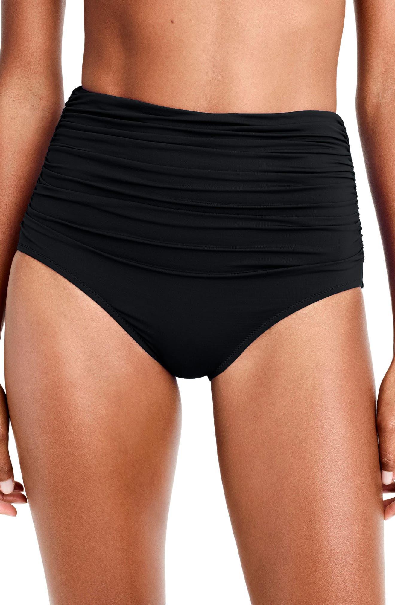 Ruched High Waist Bikini Bottoms,                         Main,                         color, 001