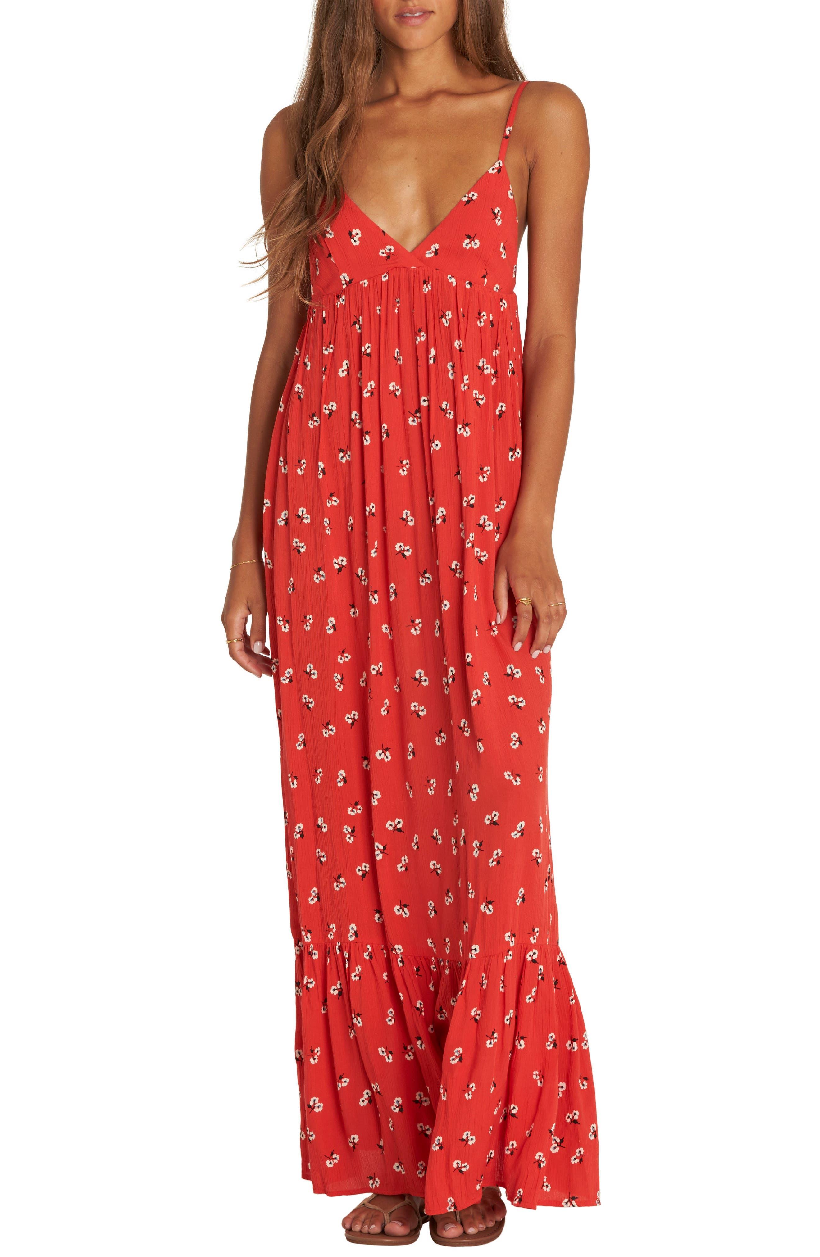 Billabong Flamed Out Print Maxi Dress, Red