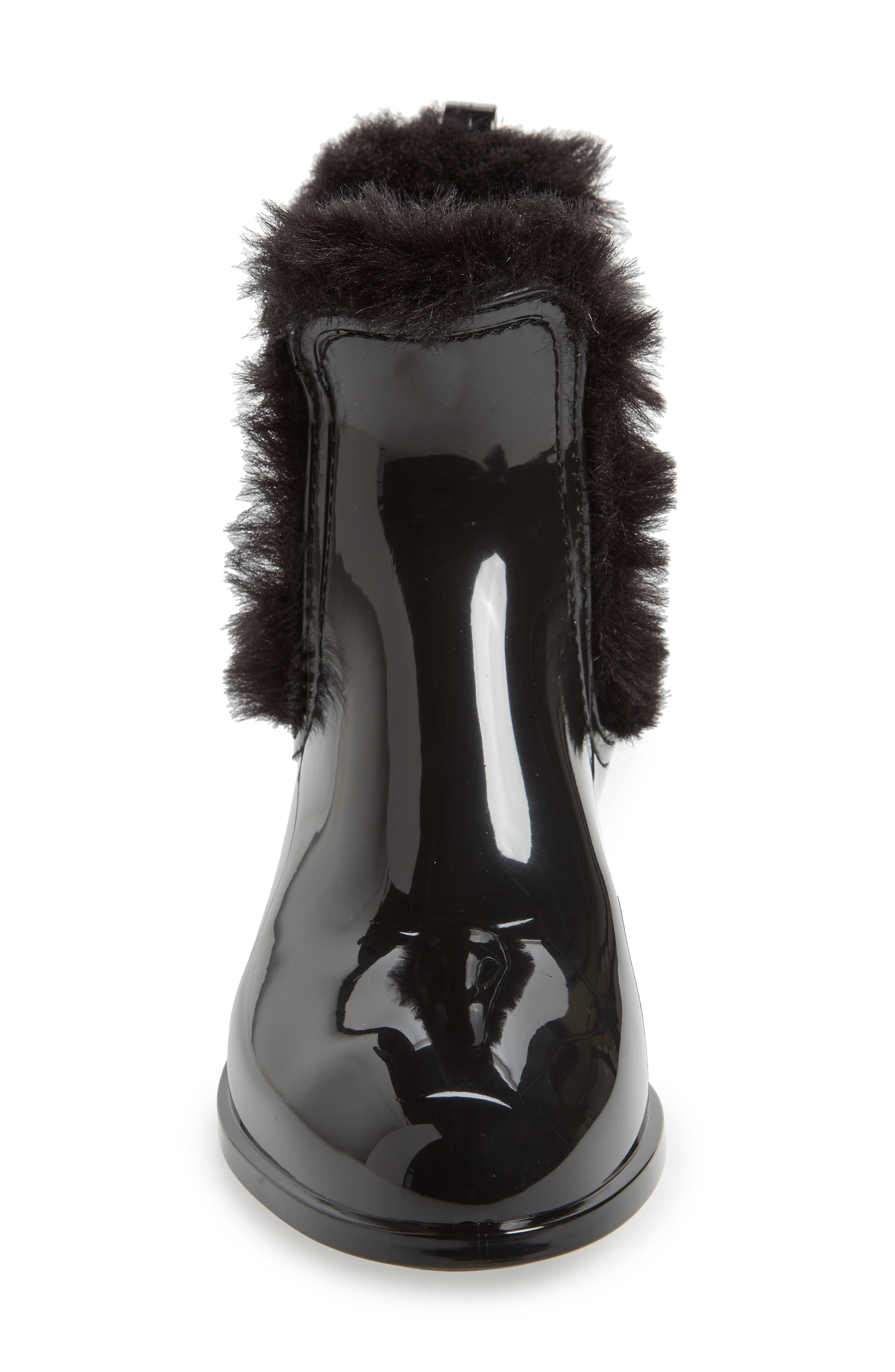Aisha Waterproof Chelsea Boot with Faux Fur Lining,                             Alternate thumbnail 4, color,                             BLACK GLOSS