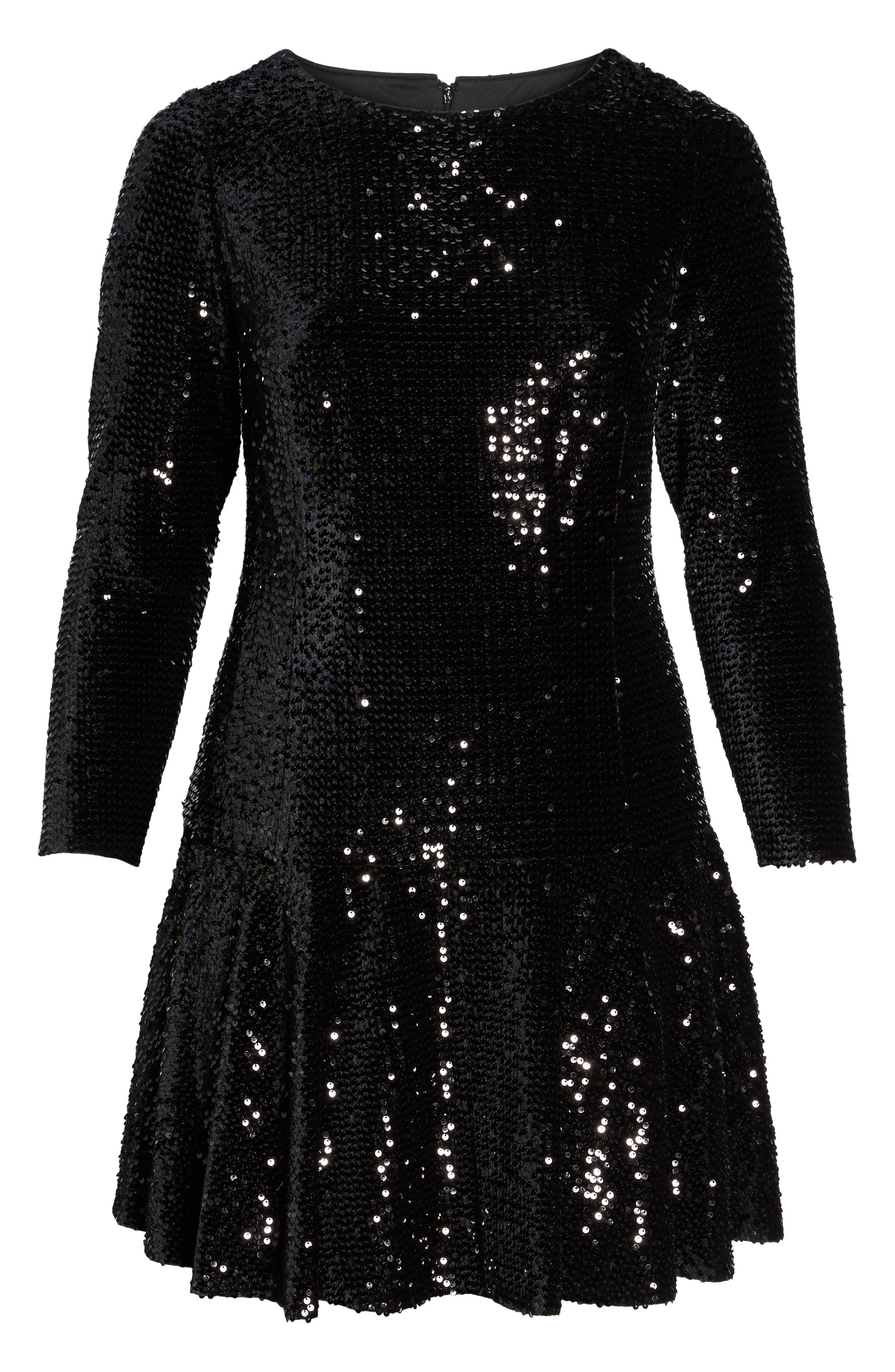 Sequin Drop Waist Dress,                             Alternate thumbnail 6, color,                             001