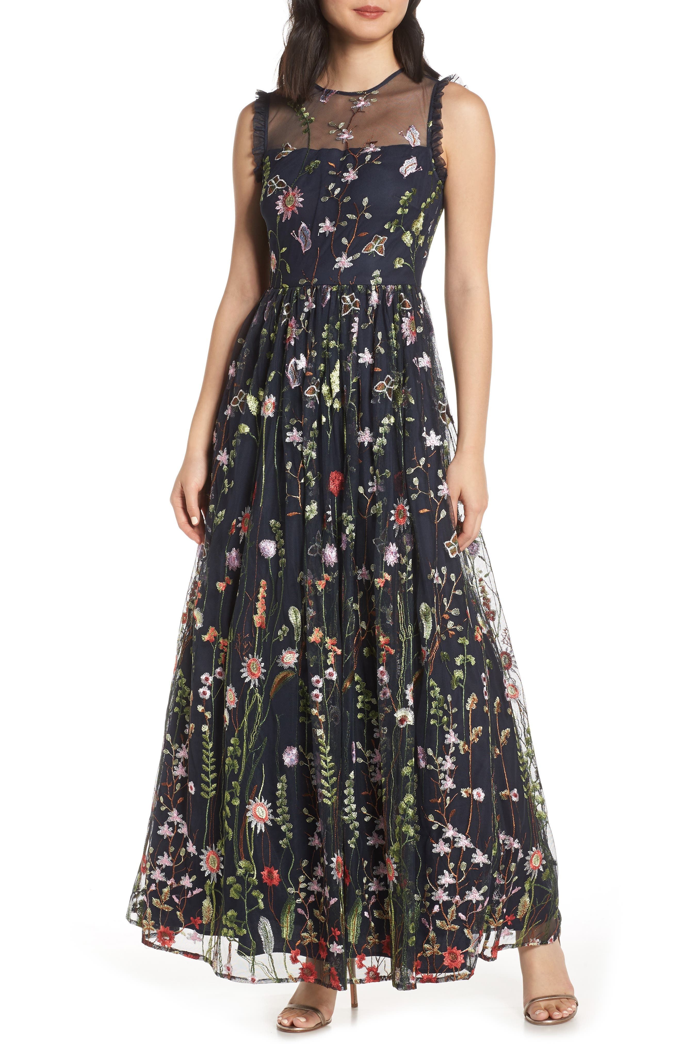 Morgan And Co. Embroidered Mesh Evening Dress, Blue