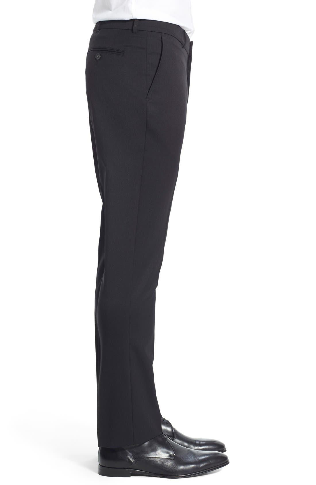Regular Fit Flat Front Trousers,                             Alternate thumbnail 4, color,                             001