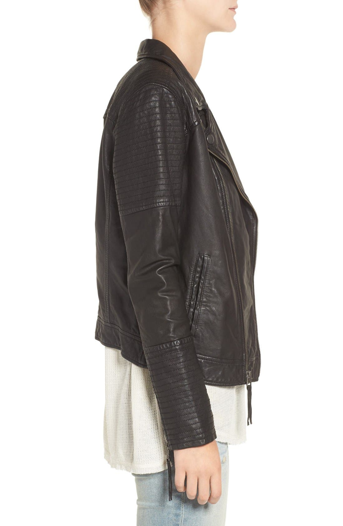 Quilted Leather Moto Jacket,                             Alternate thumbnail 11, color,                             001
