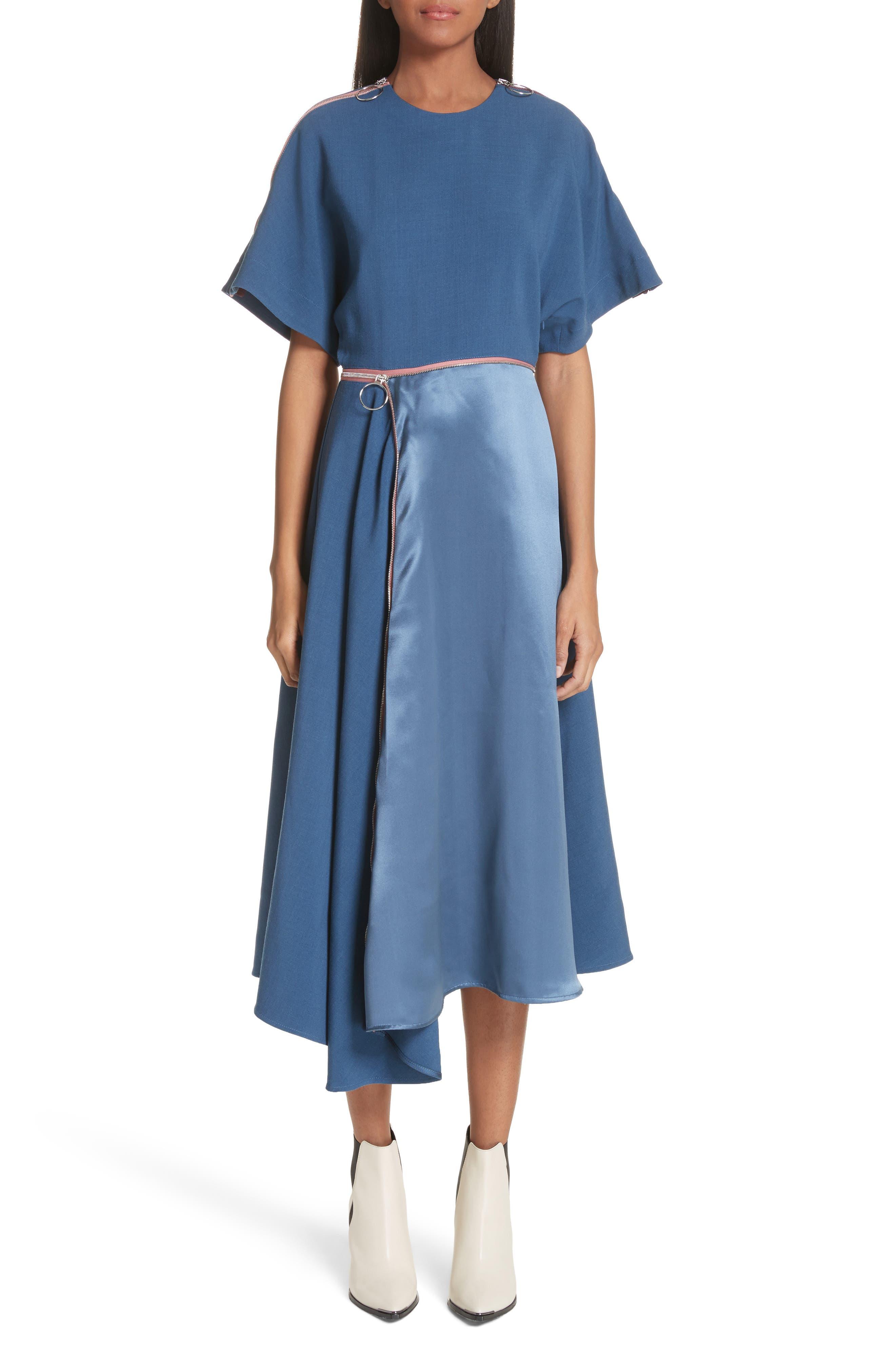 Gianna Asymmetrical Satin Dress,                         Main,                         color, 400