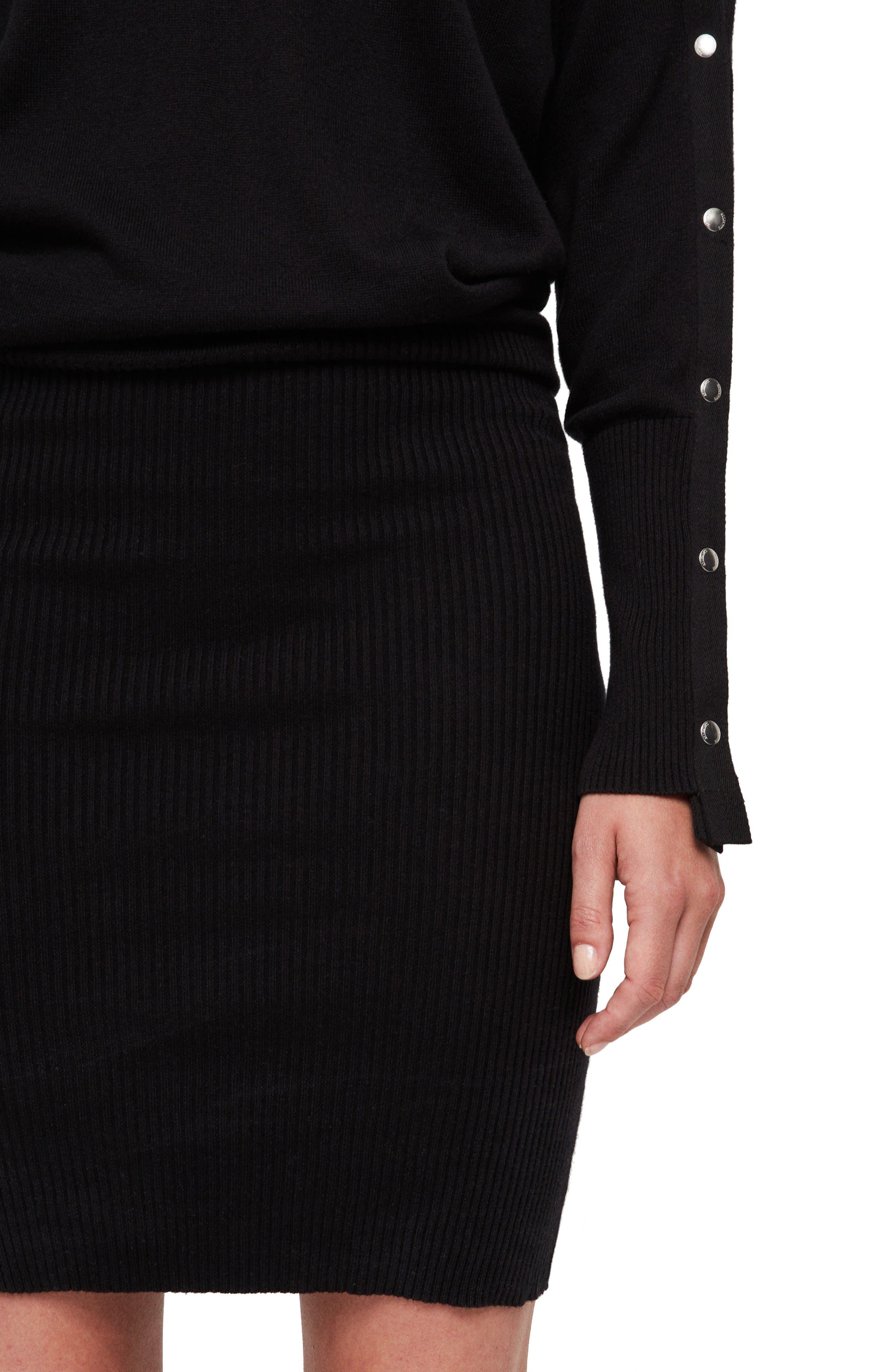 ALLSAINTS,                             Suzie Snap Sleeve Sweater Dress,                             Alternate thumbnail 3, color,                             001