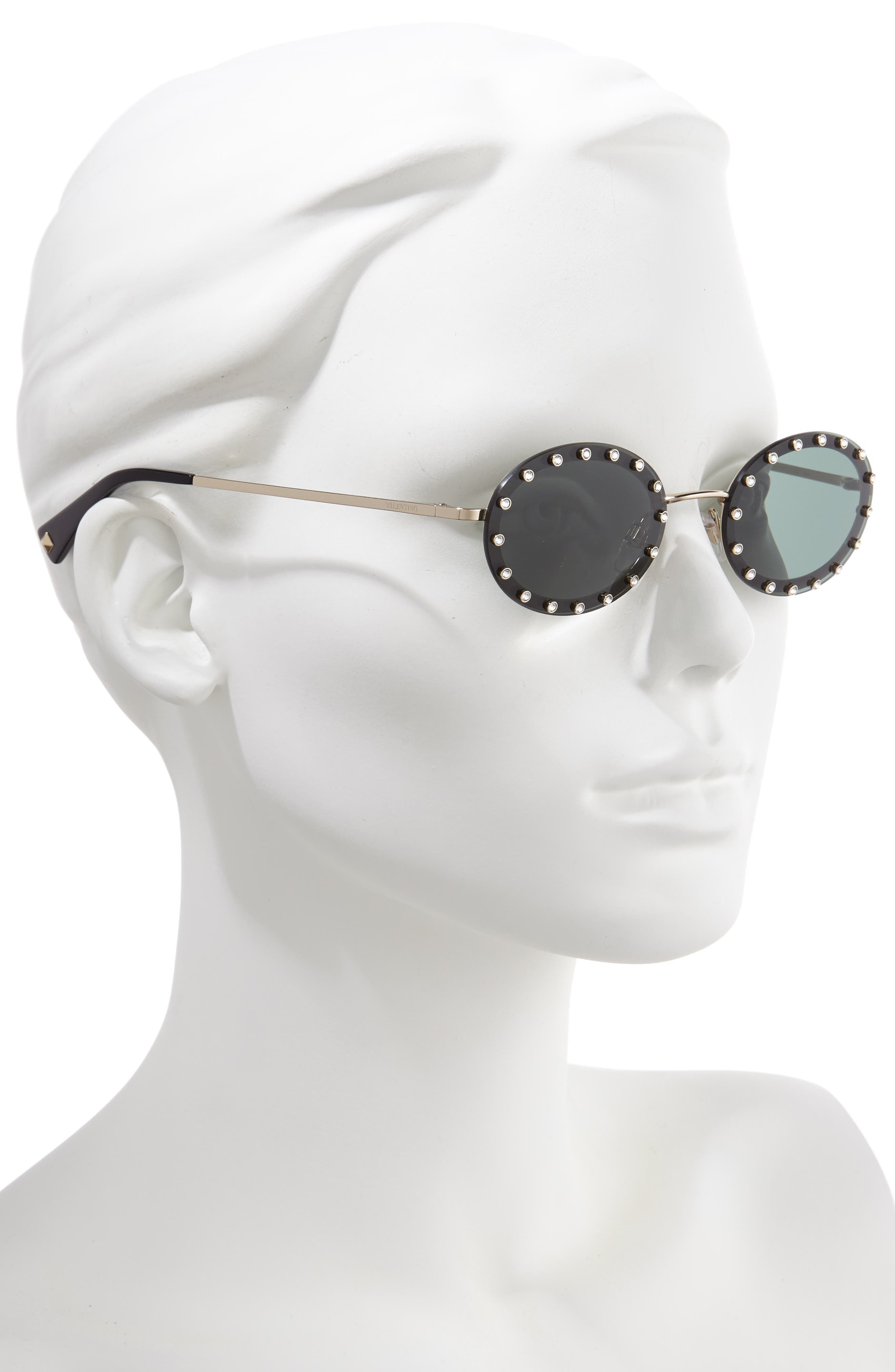 51mm Crystal Rockstud Oval Sunglasses,                             Alternate thumbnail 2, color,                             BLACK/ GREEN SOLID