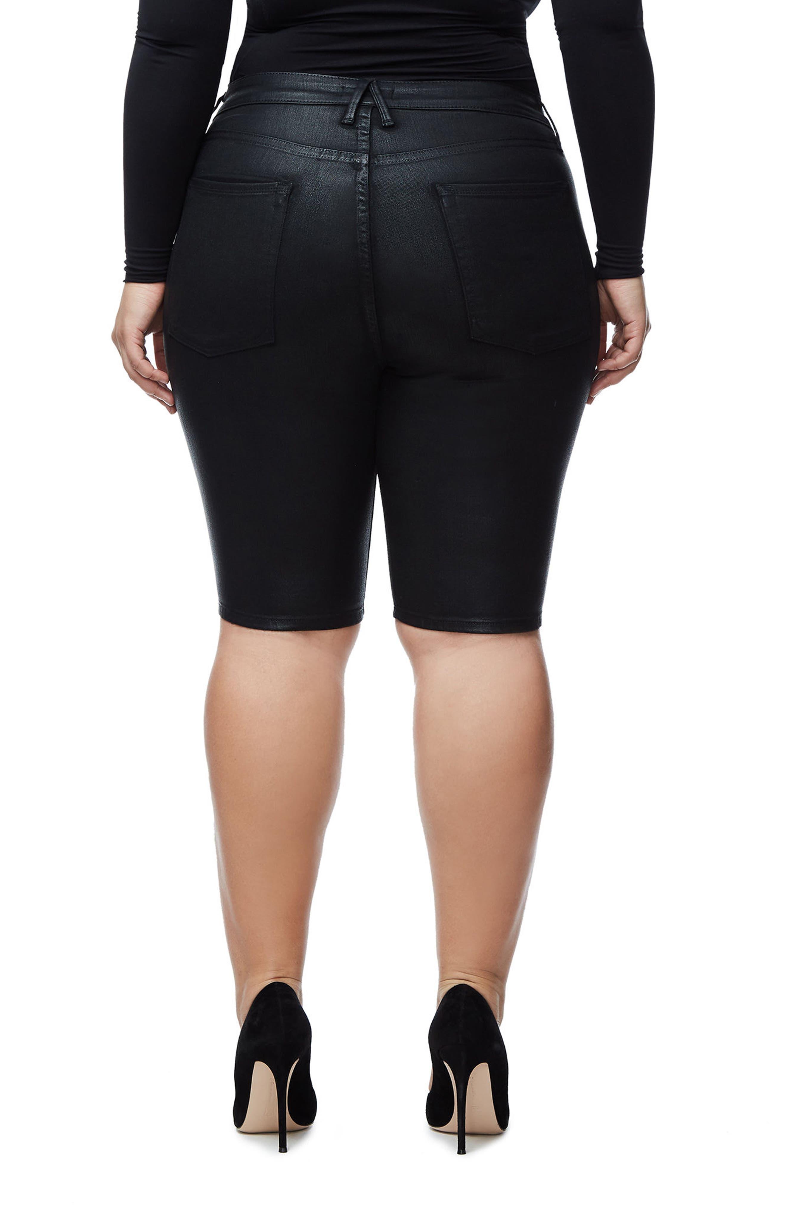 The Waxed Bermuda High Waist Shorts,                             Alternate thumbnail 2, color,                             001