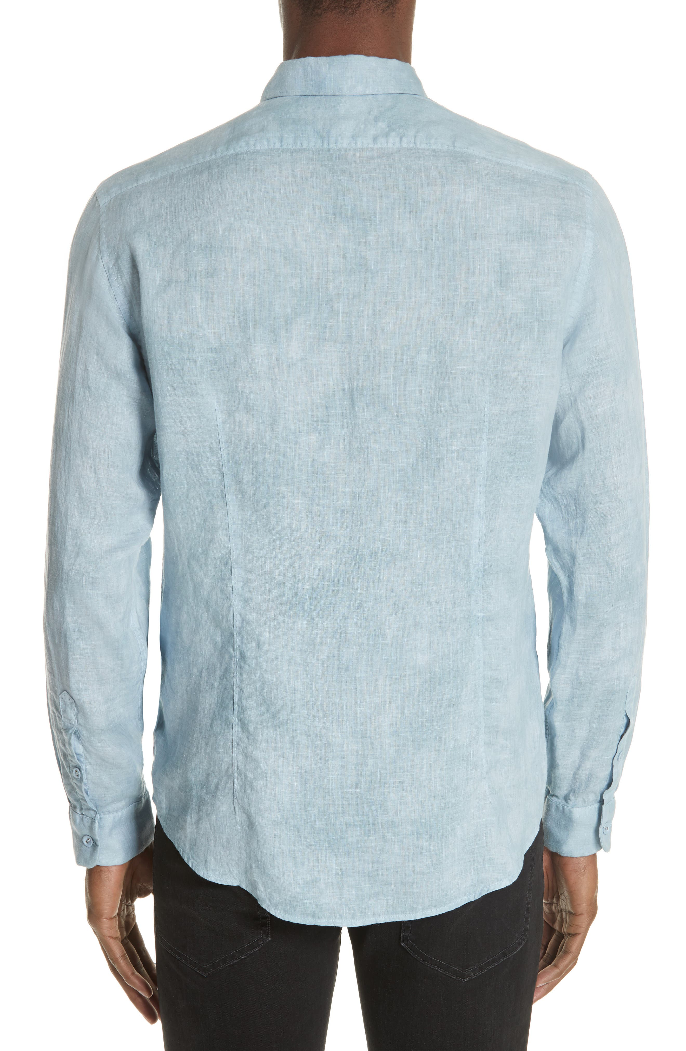 Linen Sport Shirt,                             Alternate thumbnail 2, color,                             SKY BLUE