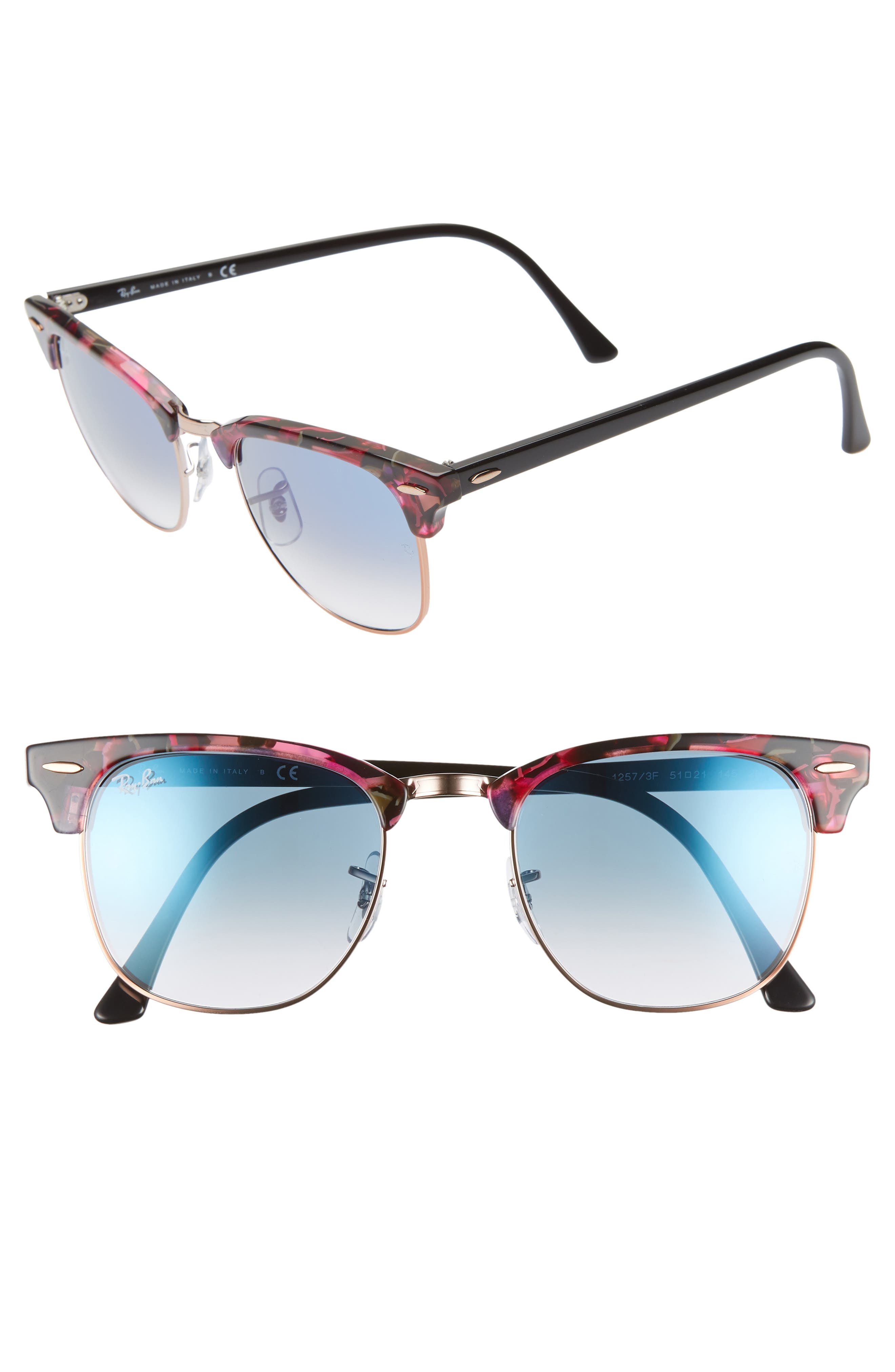 Clubmaster 51mm Gradient Sunglasses,                         Main,                         color, GREY/ VIOLET GRADIENT